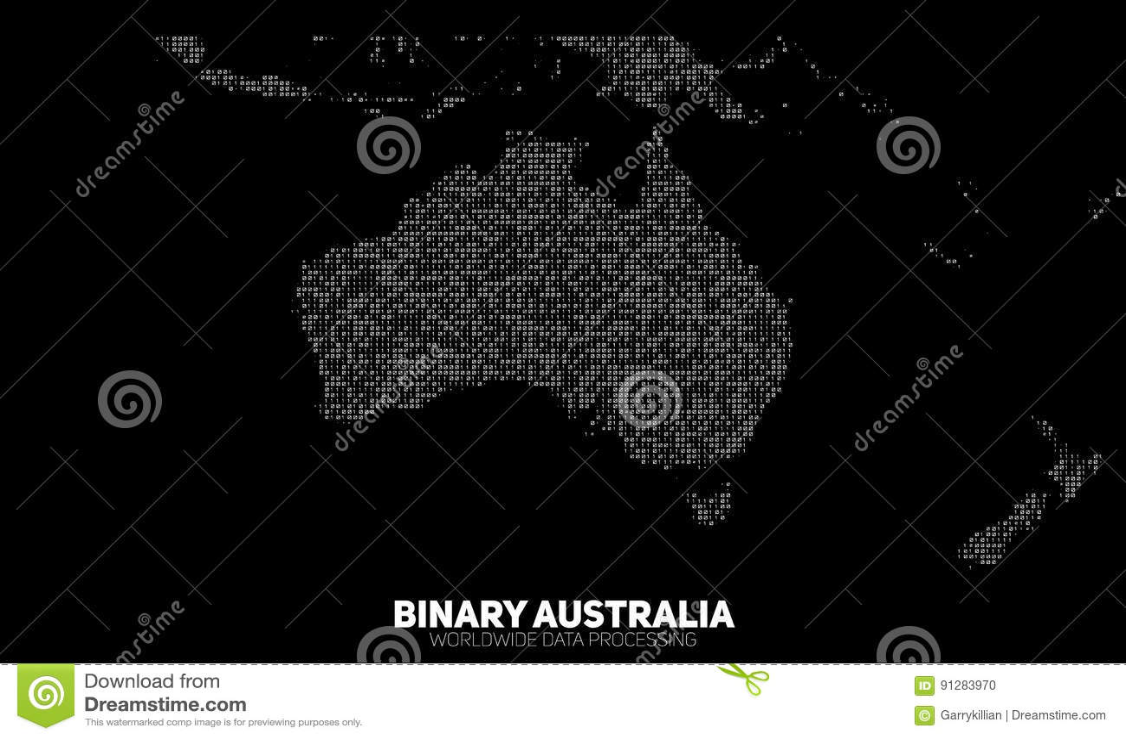 Mapa binario abstracto de Australia del vector Continentes construidos de números binarios Red de información global