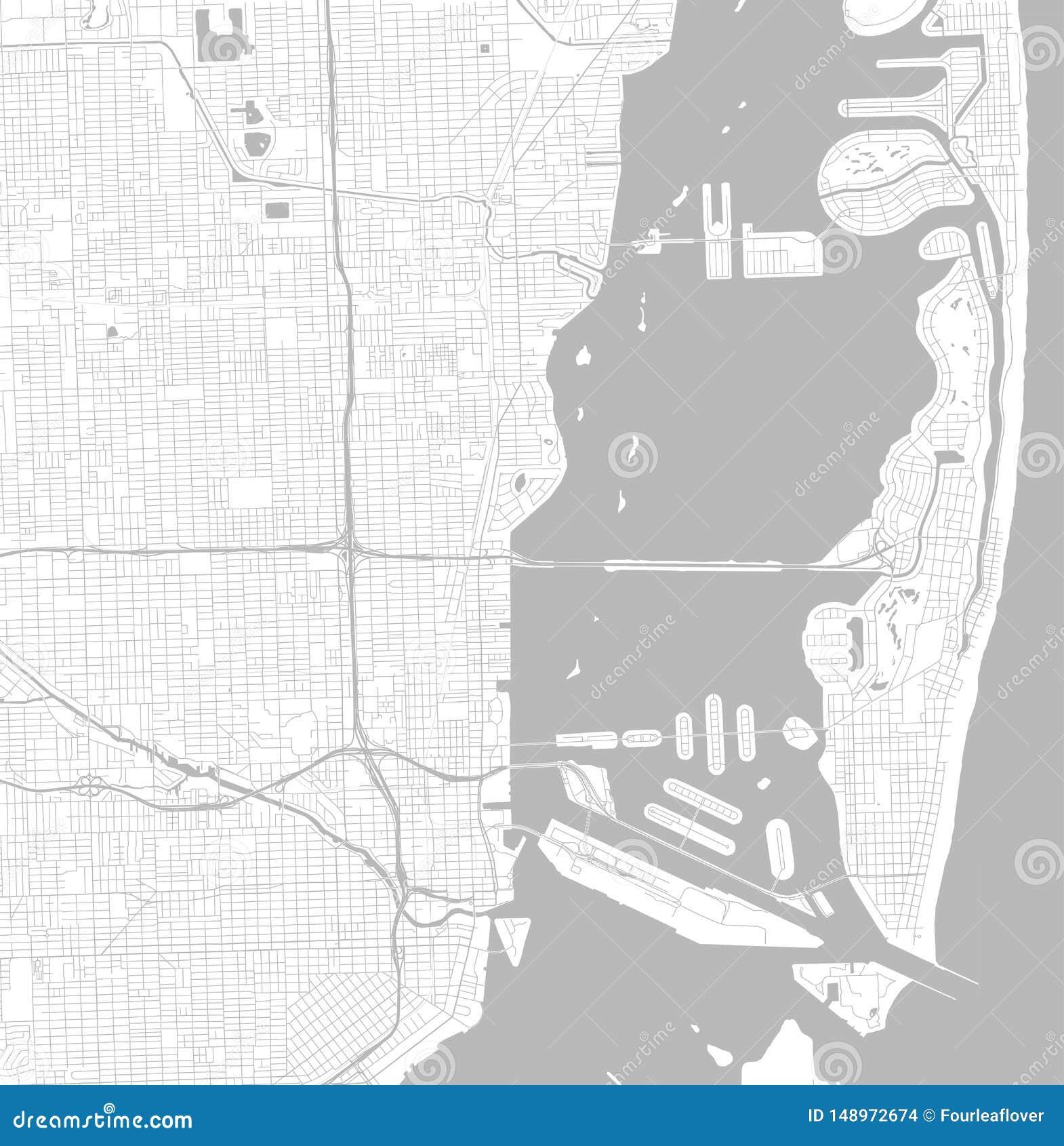 mapa blanco y negro de la ciudad del vector de miami con