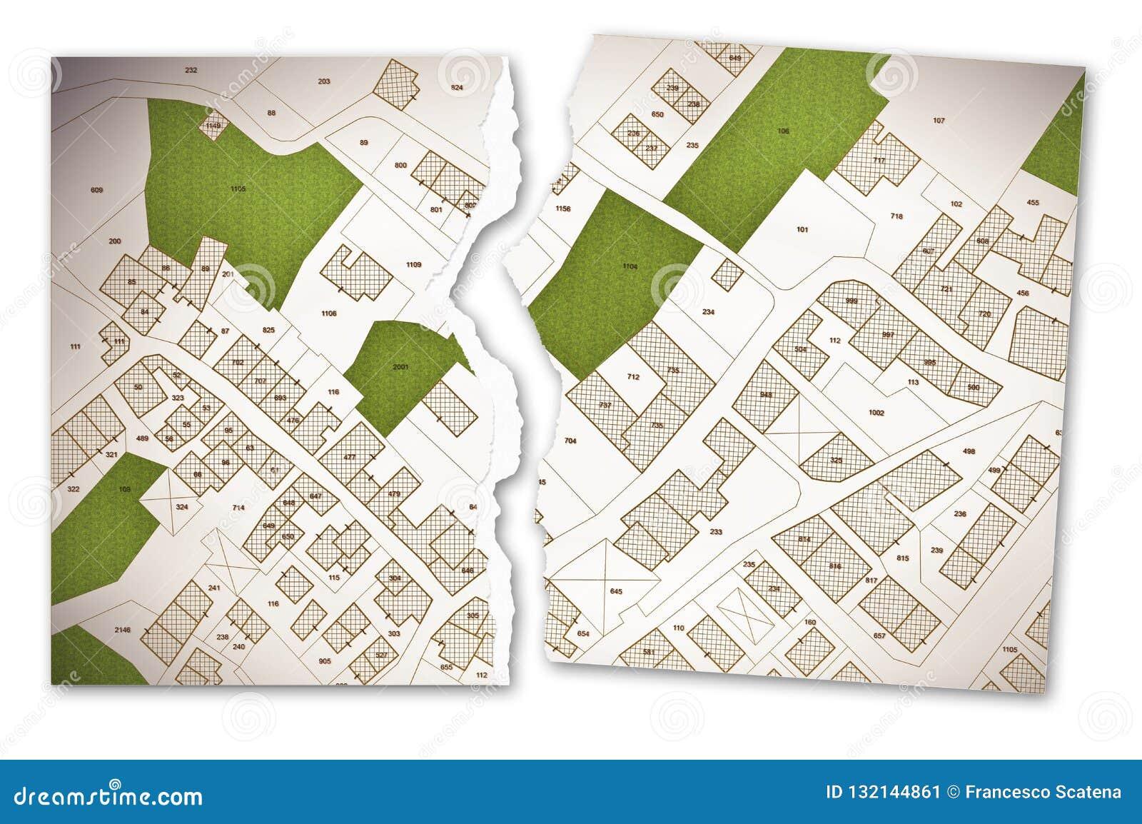 Mapa Catastral Imaginario Del Territorio Con Los Edificios Los