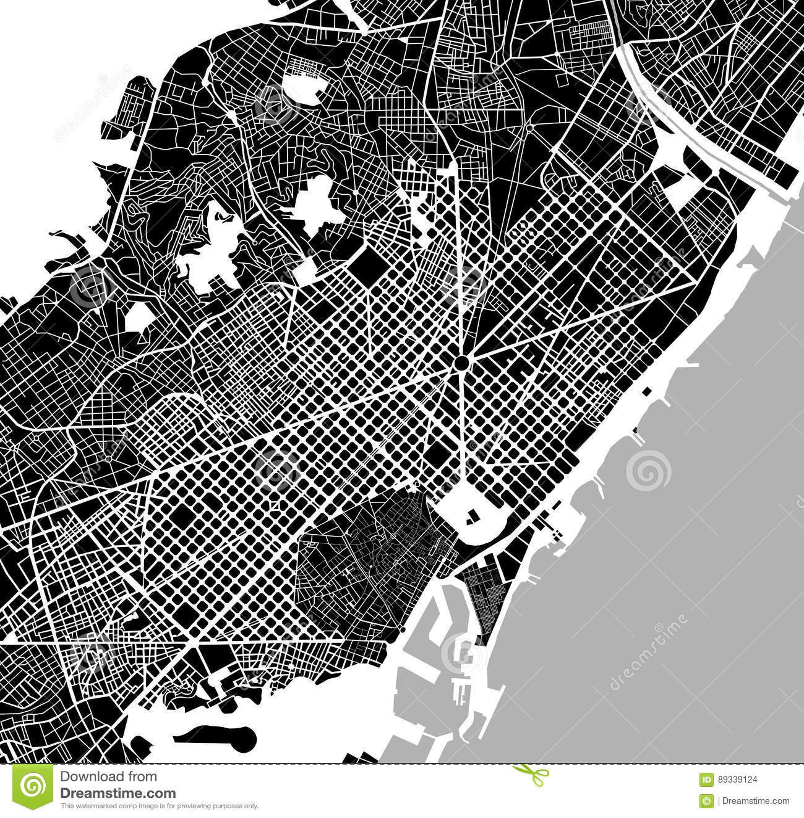 Mapa Centrum Miasta Barcelona Hiszpania Ilustracja Wektor