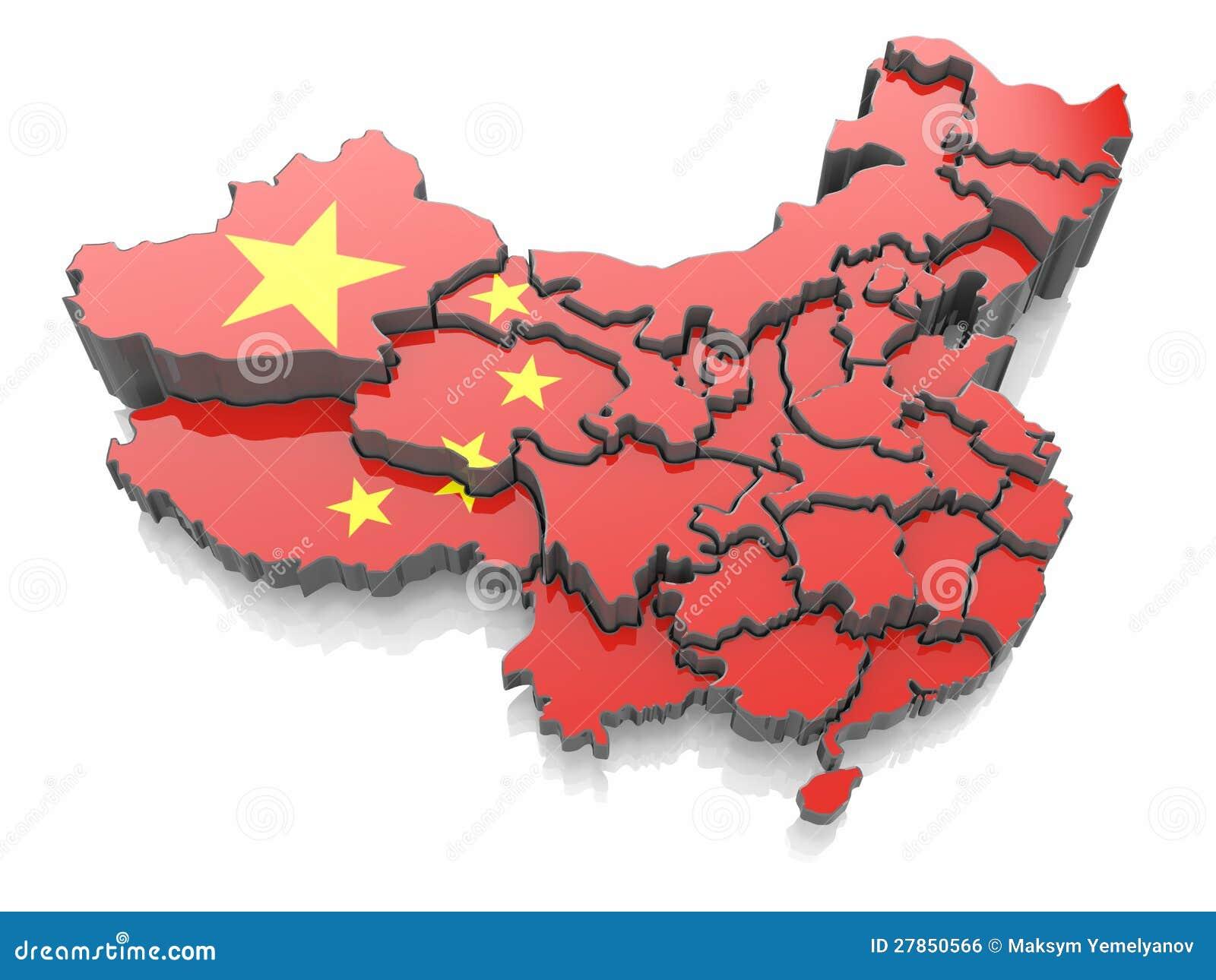 Mapa Chiny w flaga państowowa kolorach
