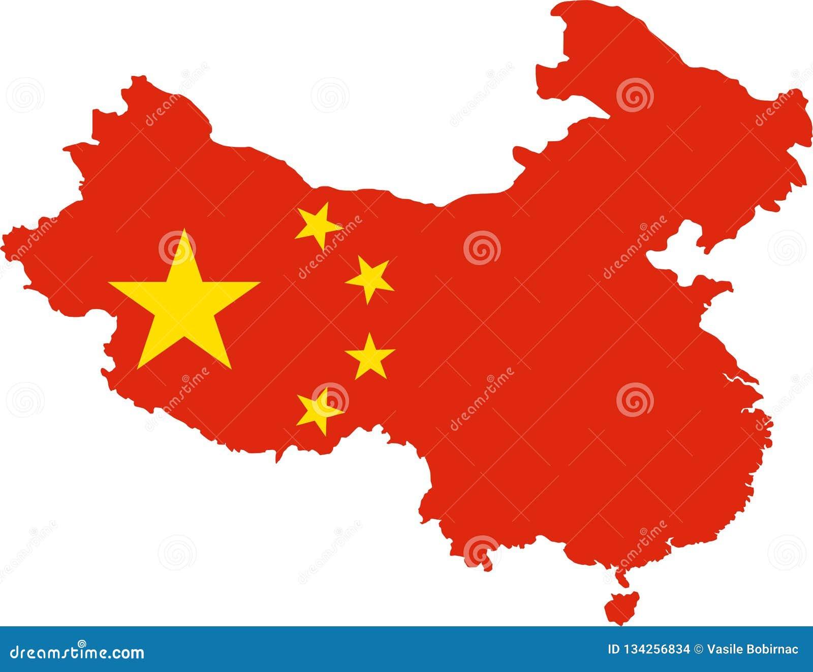 Mapa Chiny z flaga