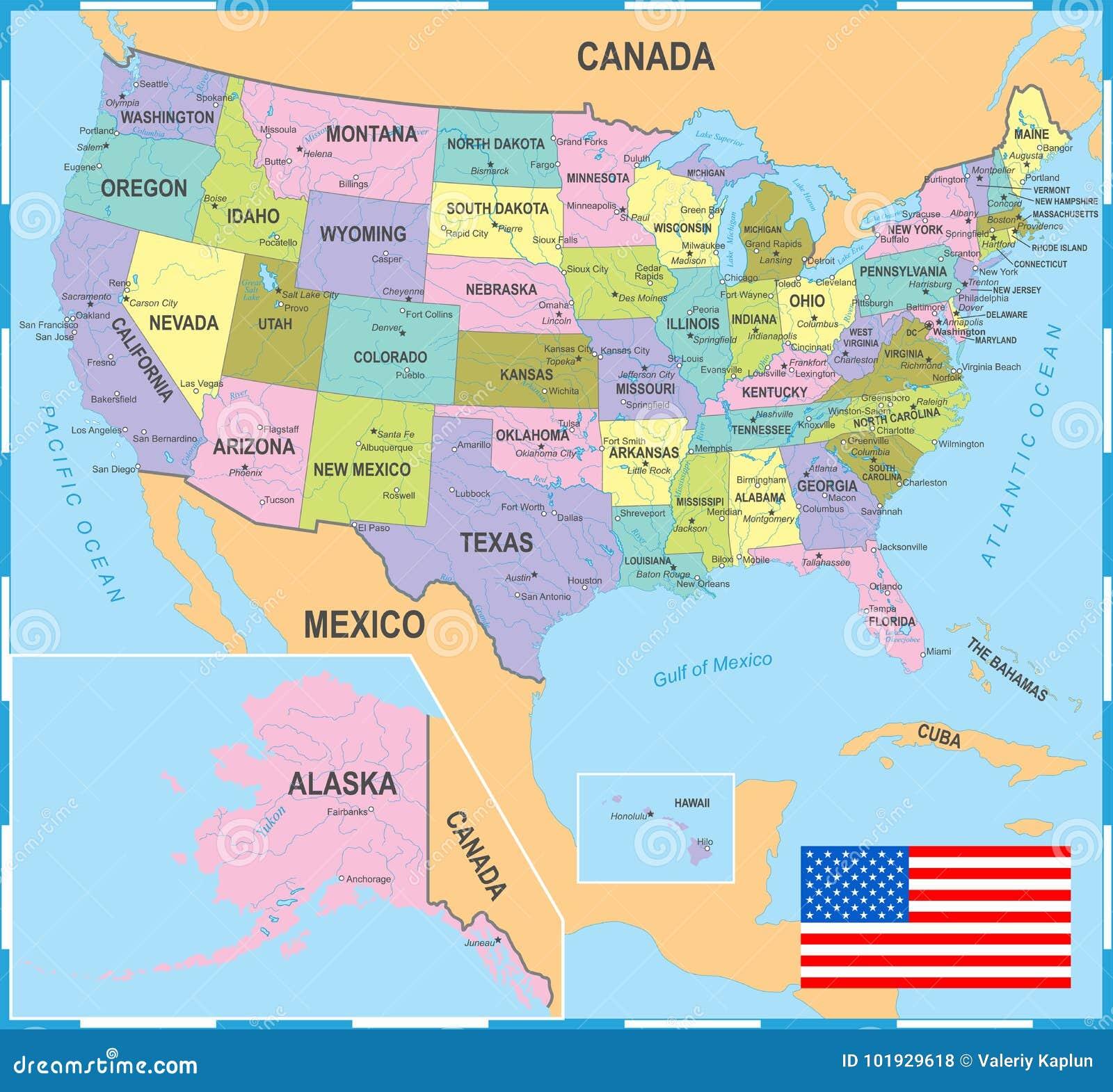 Mapa Coloreado De Estados Unidos - Ejemplo Del Vector Stock de ...