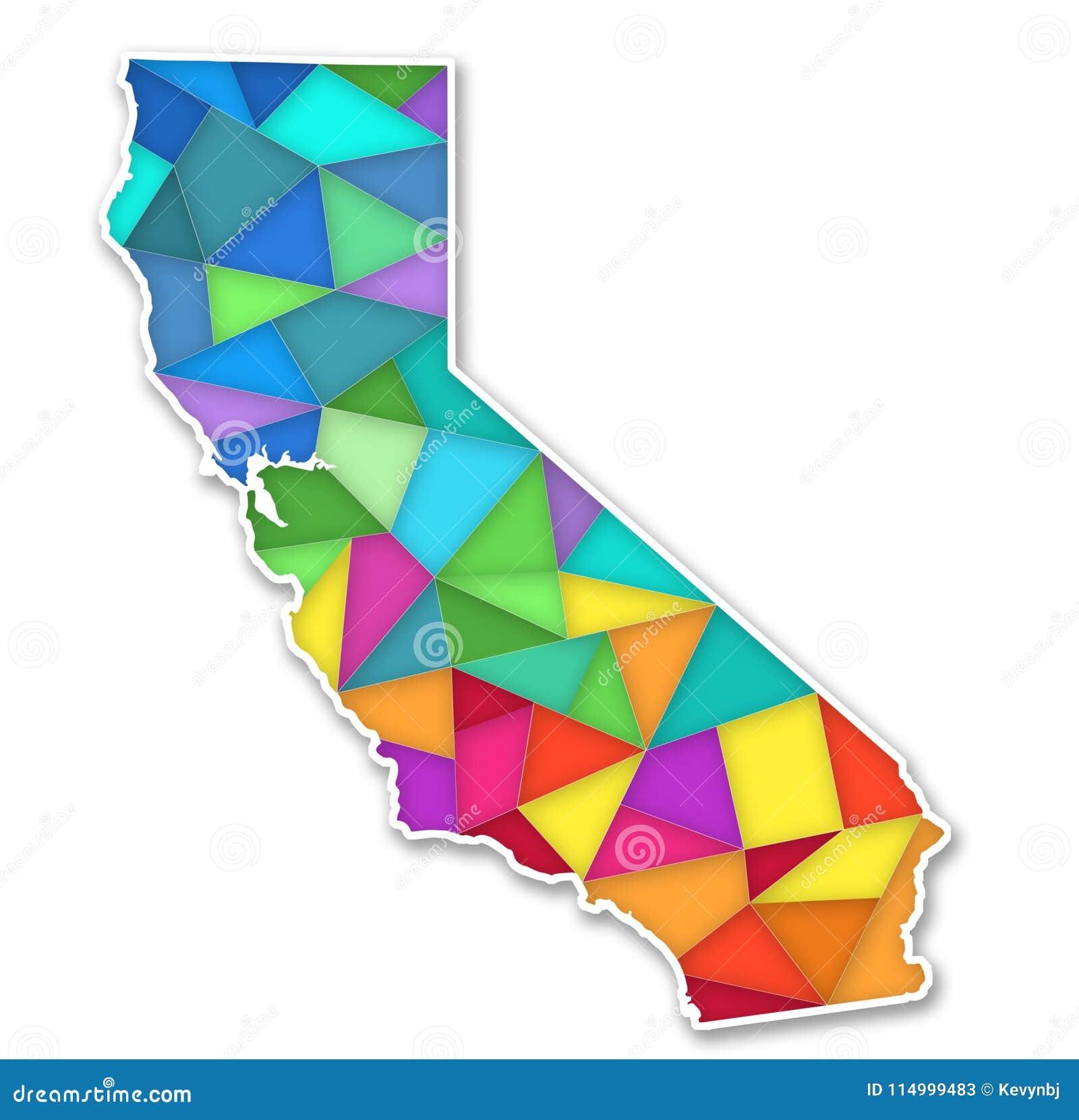 Mapa colorido de Califórnia