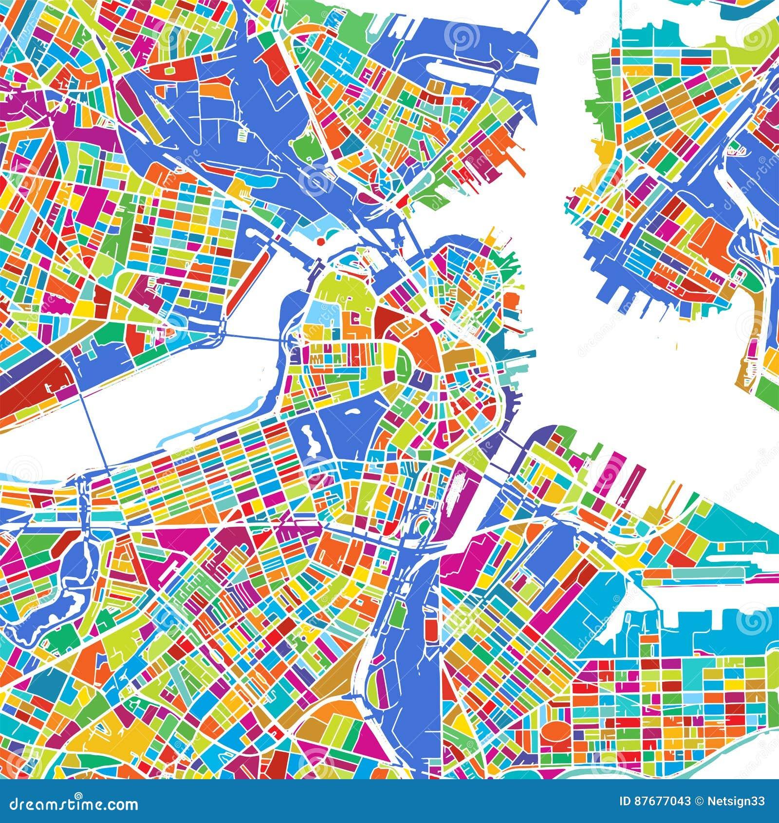 Mapa colorido del vector de Boston