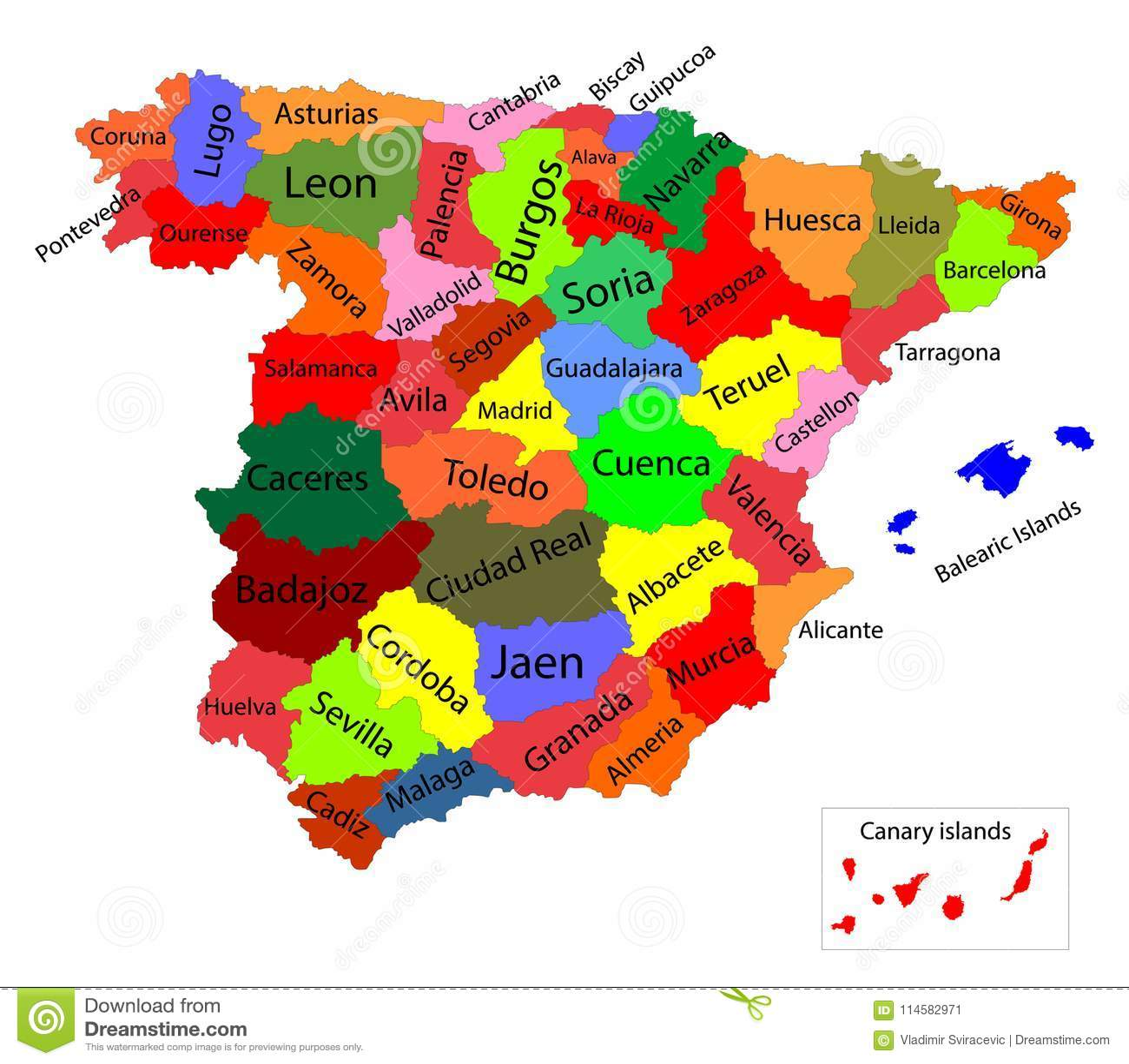 Mapa De España Provincias Y Comunidades.Mapa Colorido Editable De Espana Comunidades Autonomas De