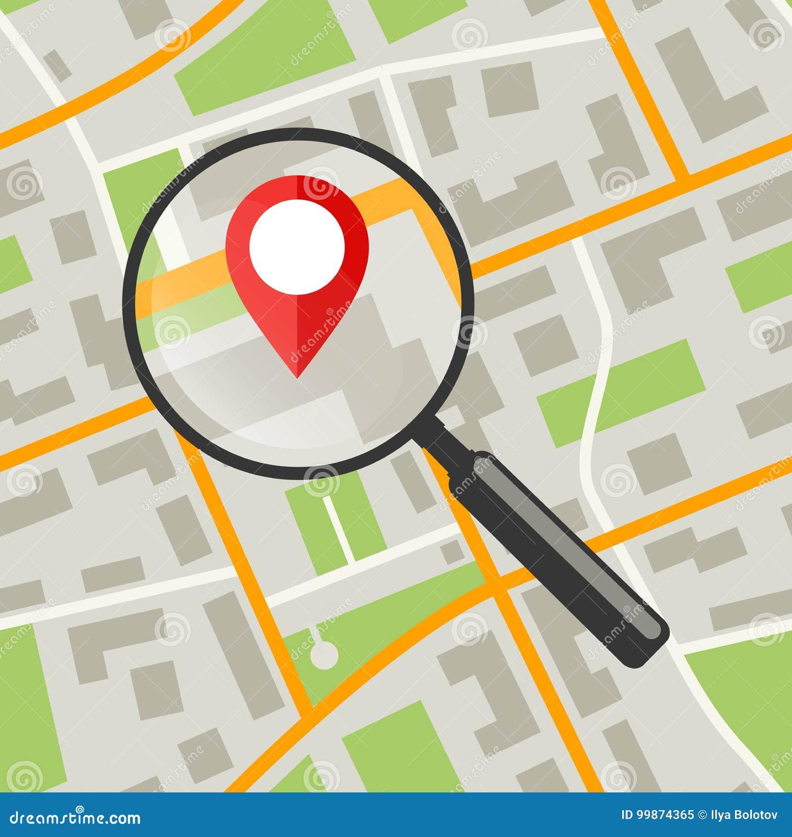 Mapa com lente de aumento