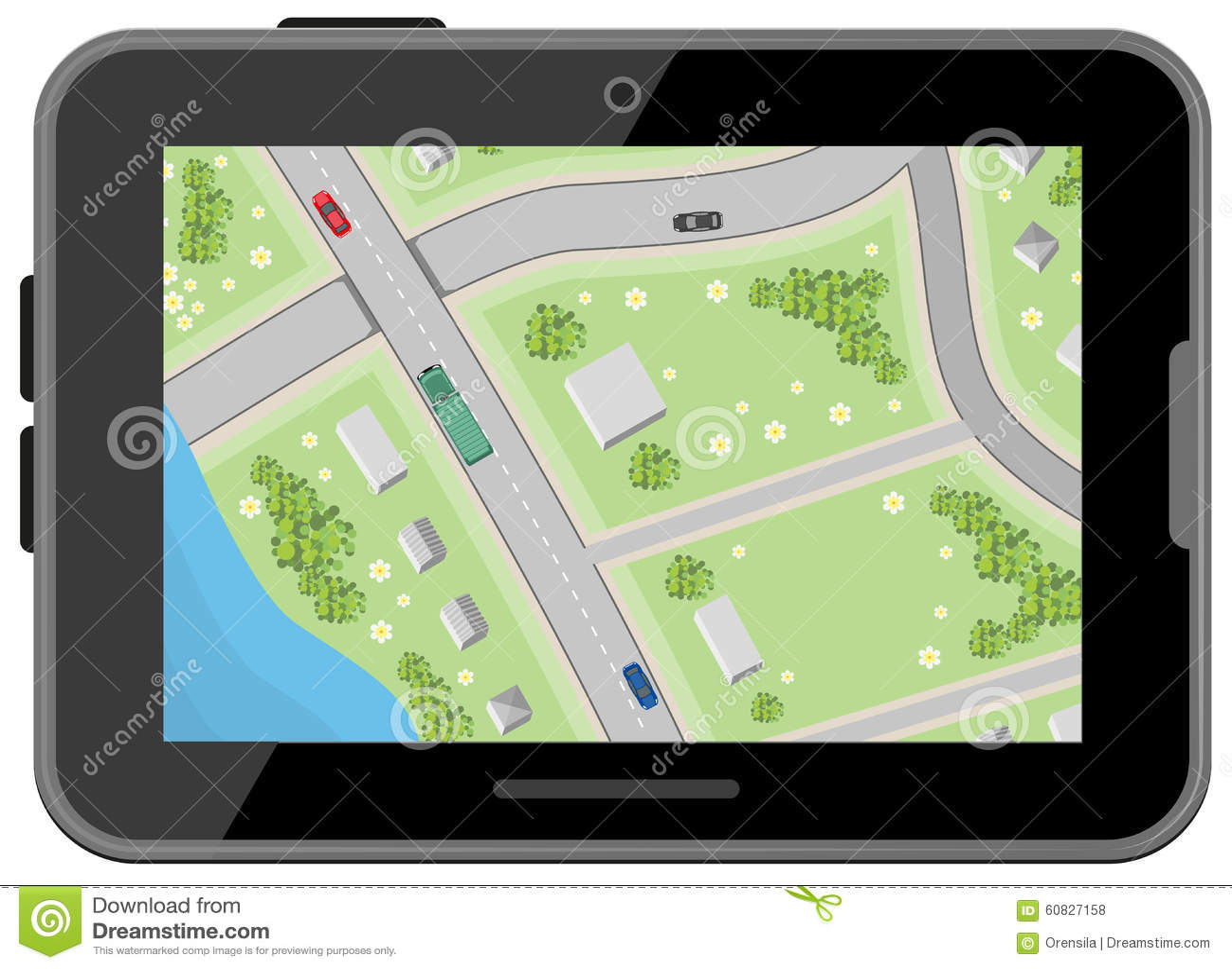 Mapa con direcciones de conducción Visión superior Tablilla negra de Digitaces Navegación del coche