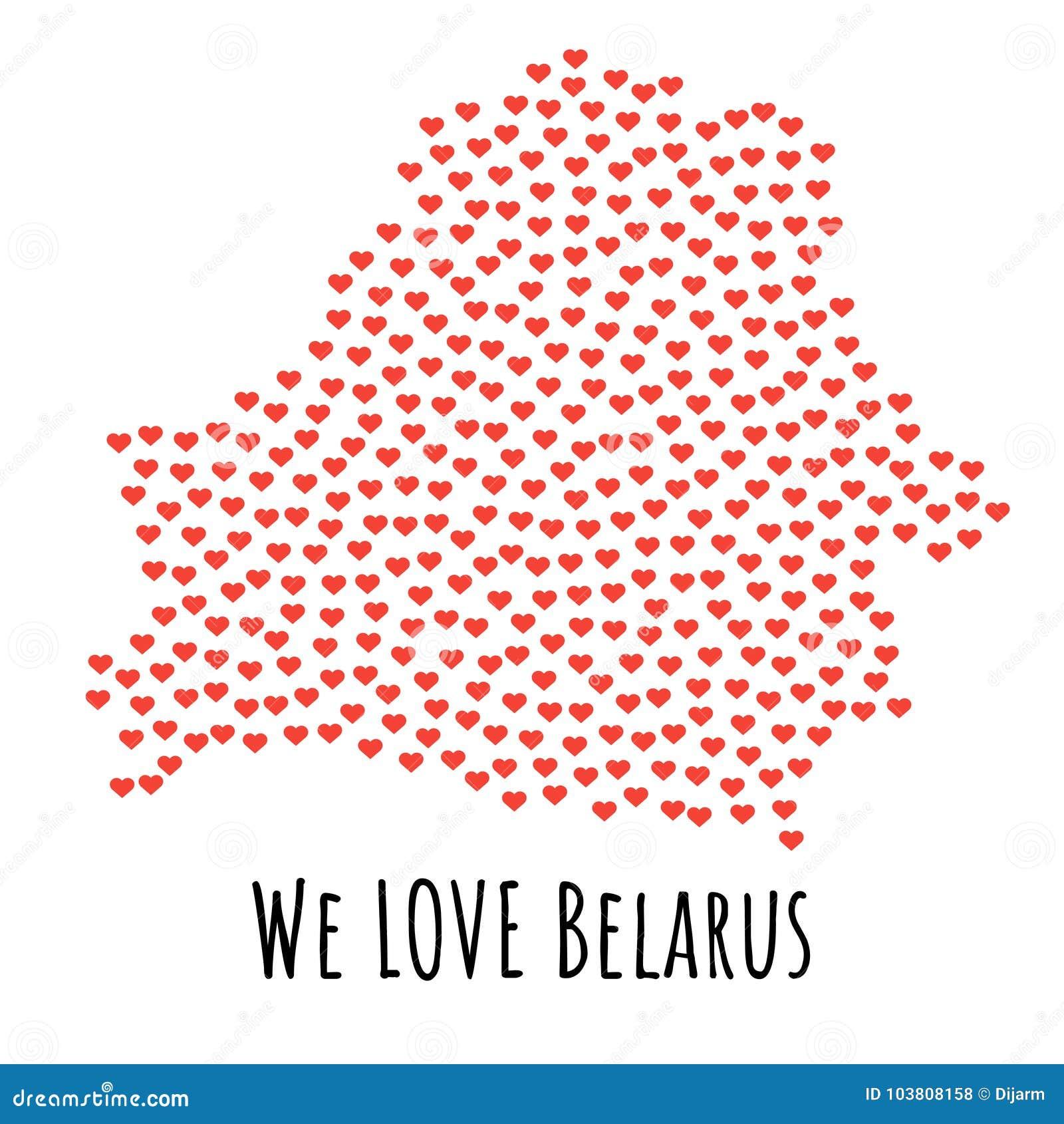 Mapa con los corazones rojos - símbolo de Bielorrusia del amor abstraiga el fondo