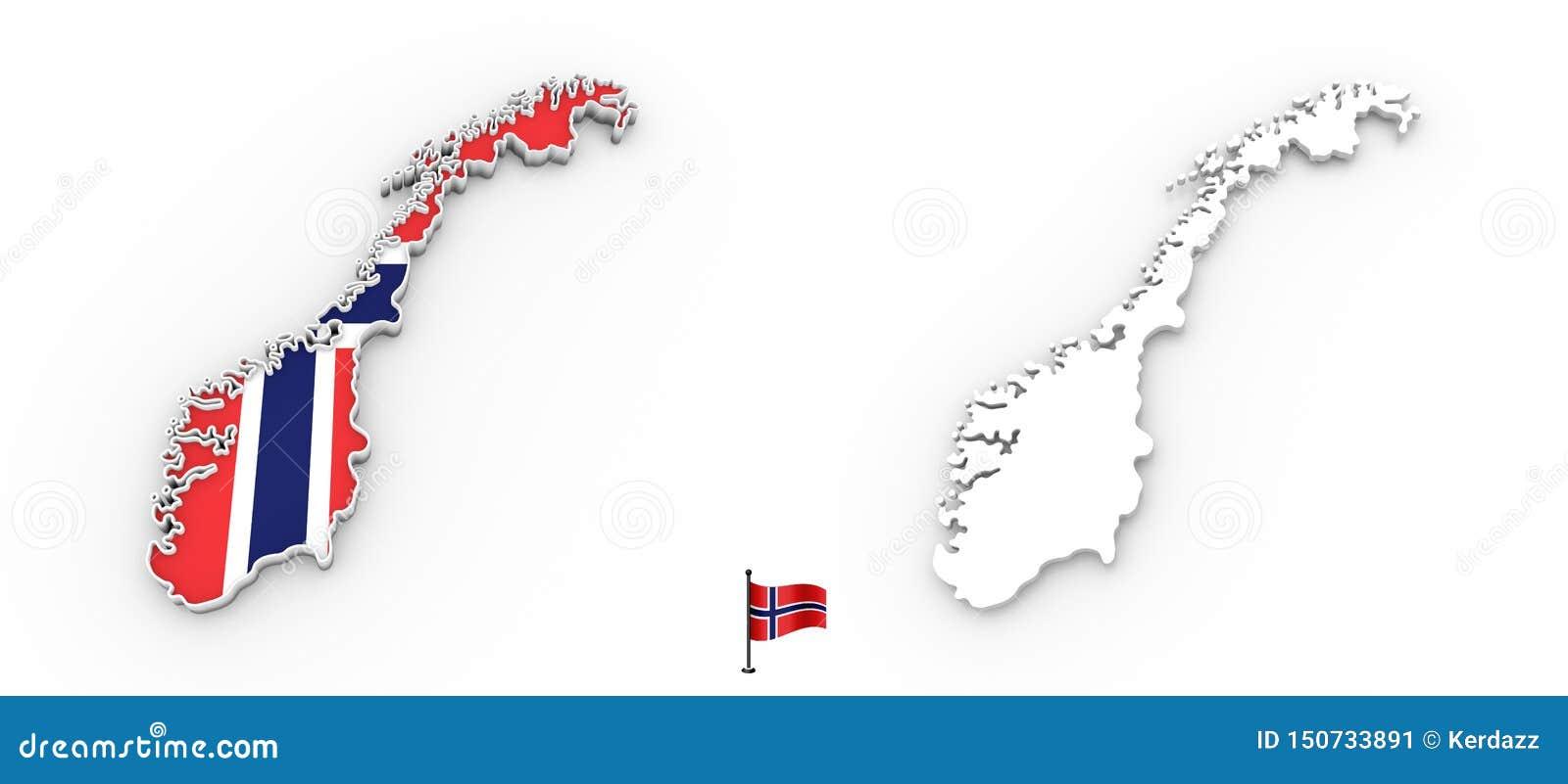 Mapa 3D de la silueta y de la bandera blancas de Noruega