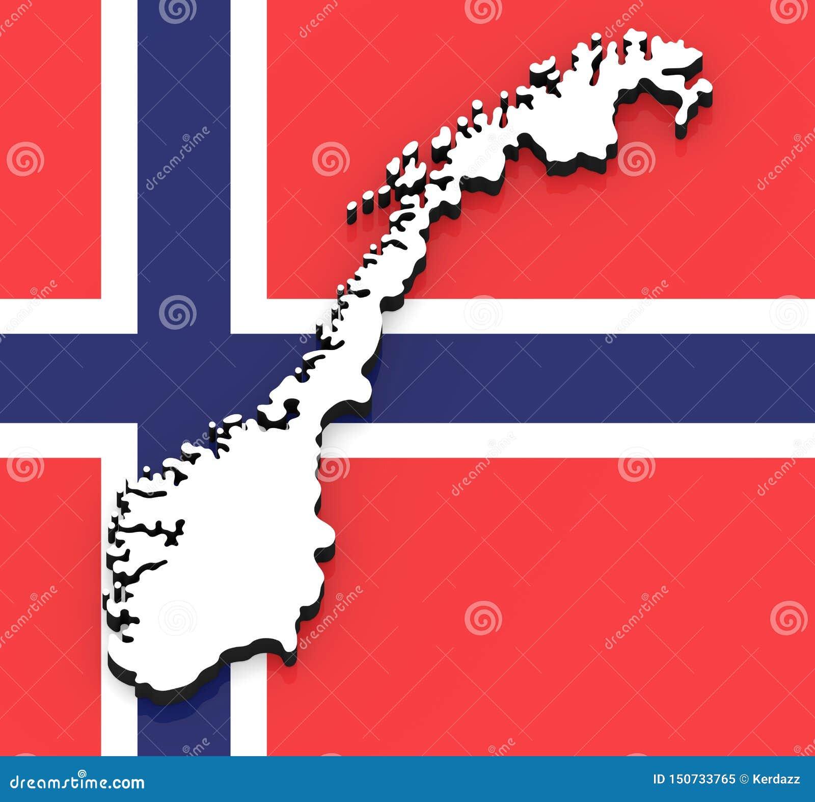 Mapa 3D de Noruega en la bandera nacional