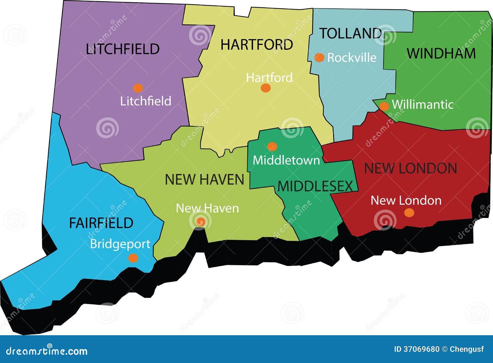 Mapa 3d Del Estado De Connecticut Ilustración del Vector ...