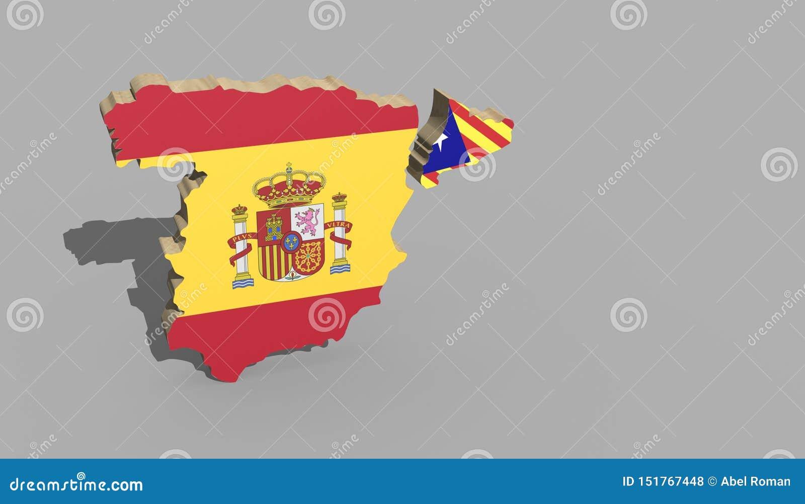 Mapa 3d sobre a independência do conflito de catalonia