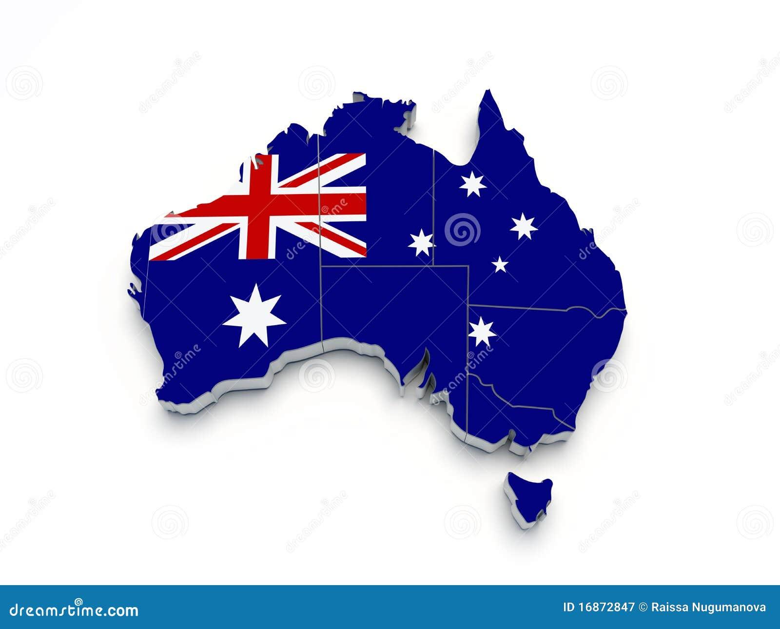 Mapa da bandeira de Austrália 3D no branco