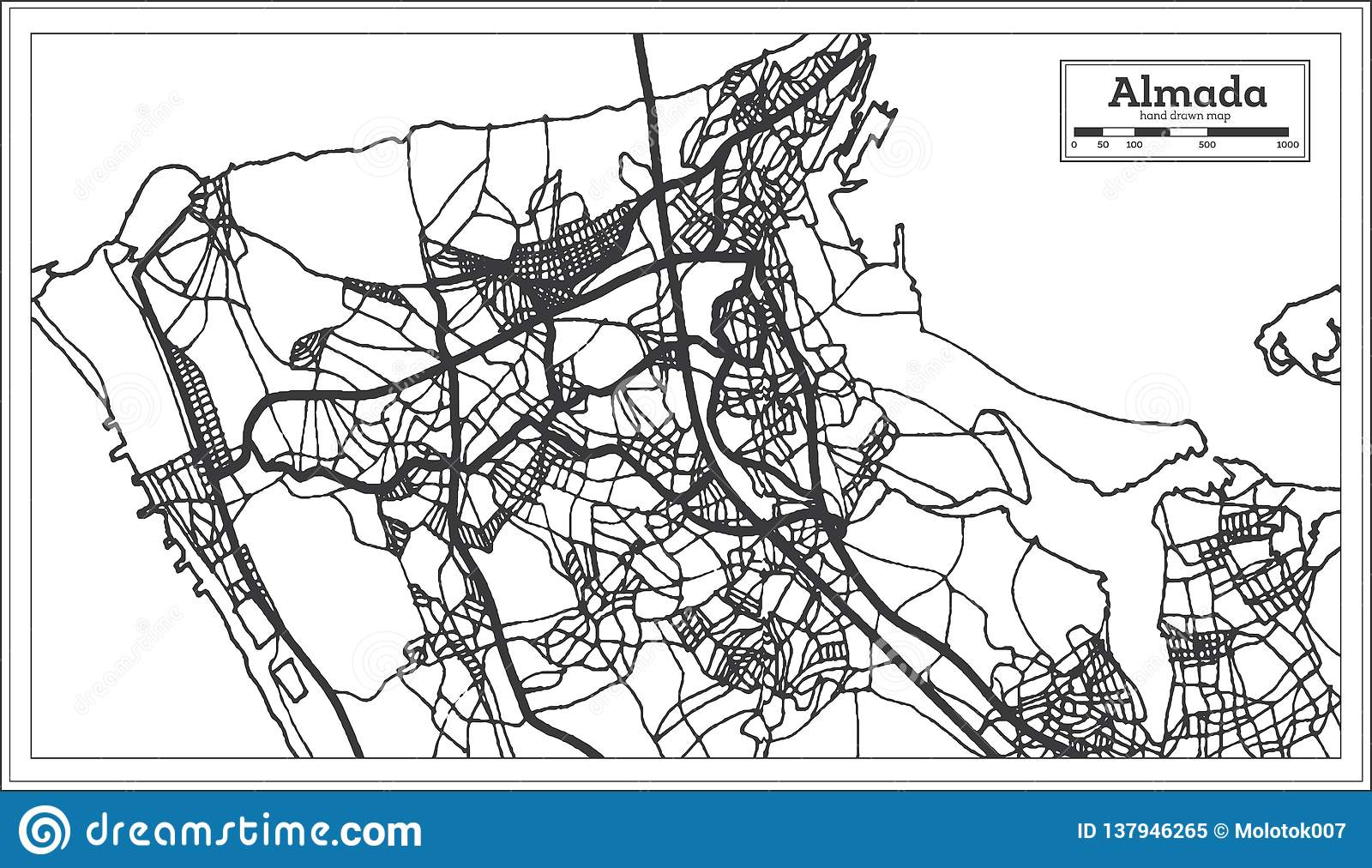 Mapa Da Cidade De Almada Portugal No Estilo Retro Ilustracao Preto
