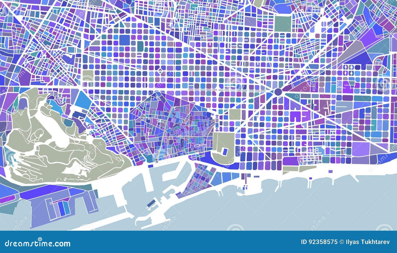 Mapa Da Cidade De Barcelona Espanha Ilustracao Do Vetor
