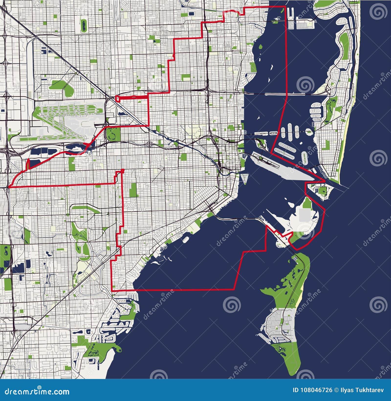 mapa da cidade de miami, eua ilustração do vetor