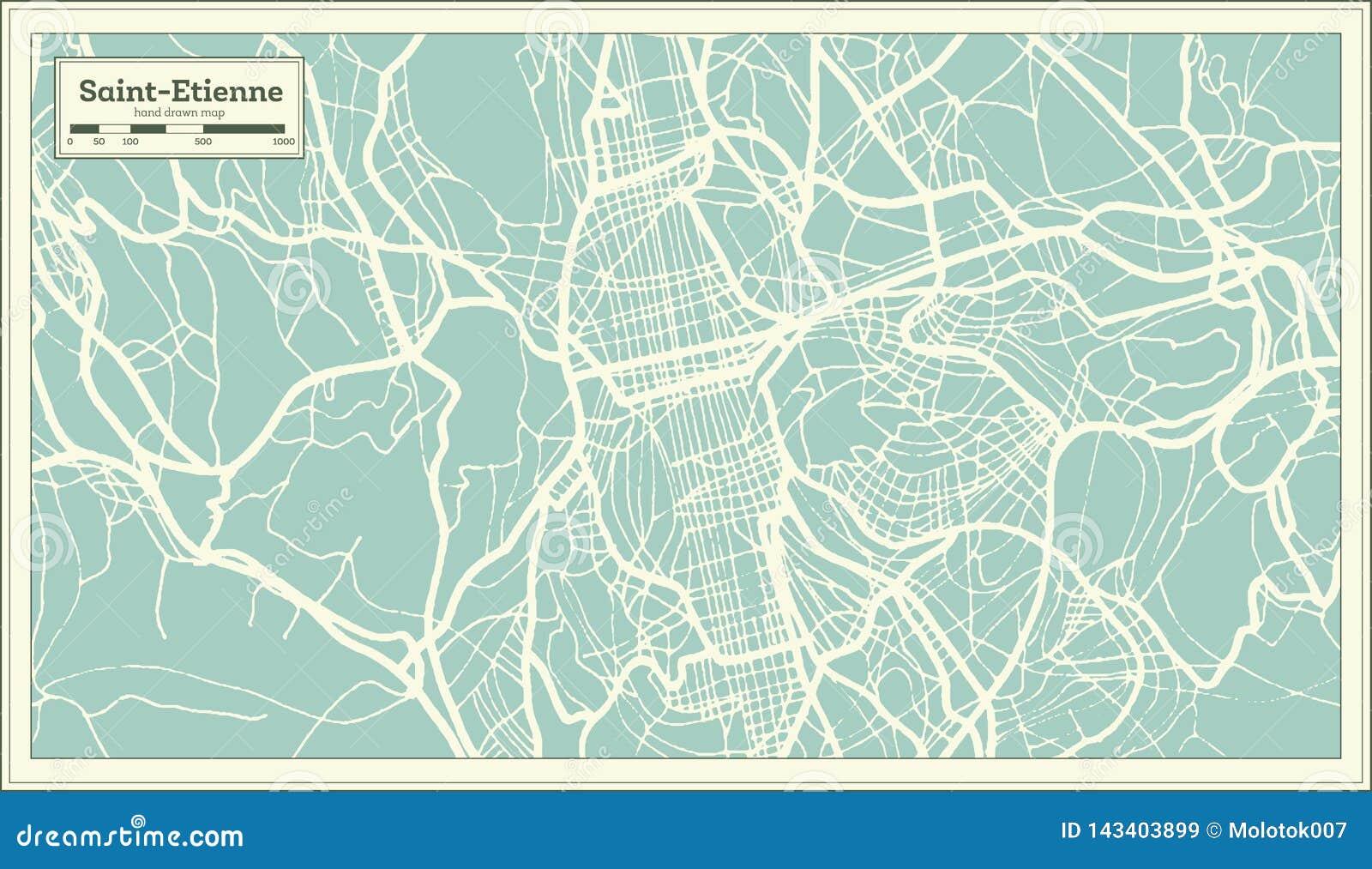 Mapa da cidade de Saint Etienne França no estilo retro Ilustração preto e branco do vetor