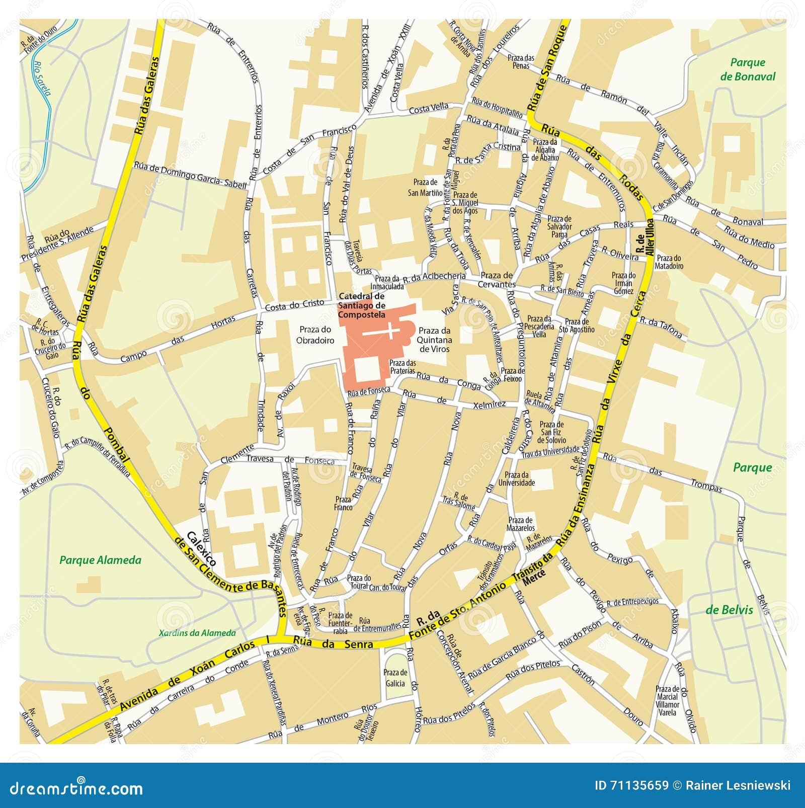 Mapa Da Cidade De Santiago De Compostela Espanha Imagem De Stock