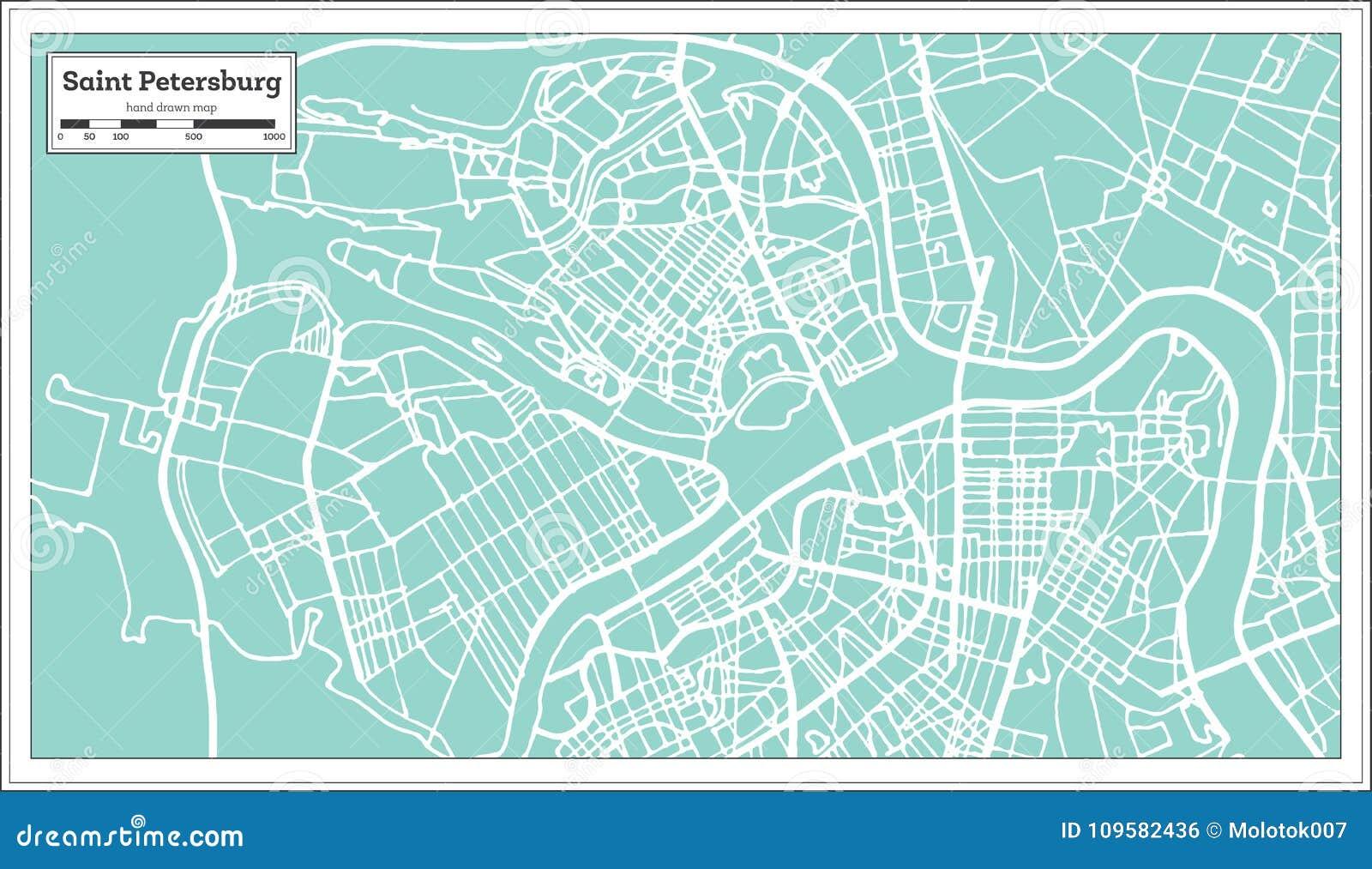 Mapa da cidade de St Petersburg Rússia no estilo retro Ilustração preto e branco do vetor