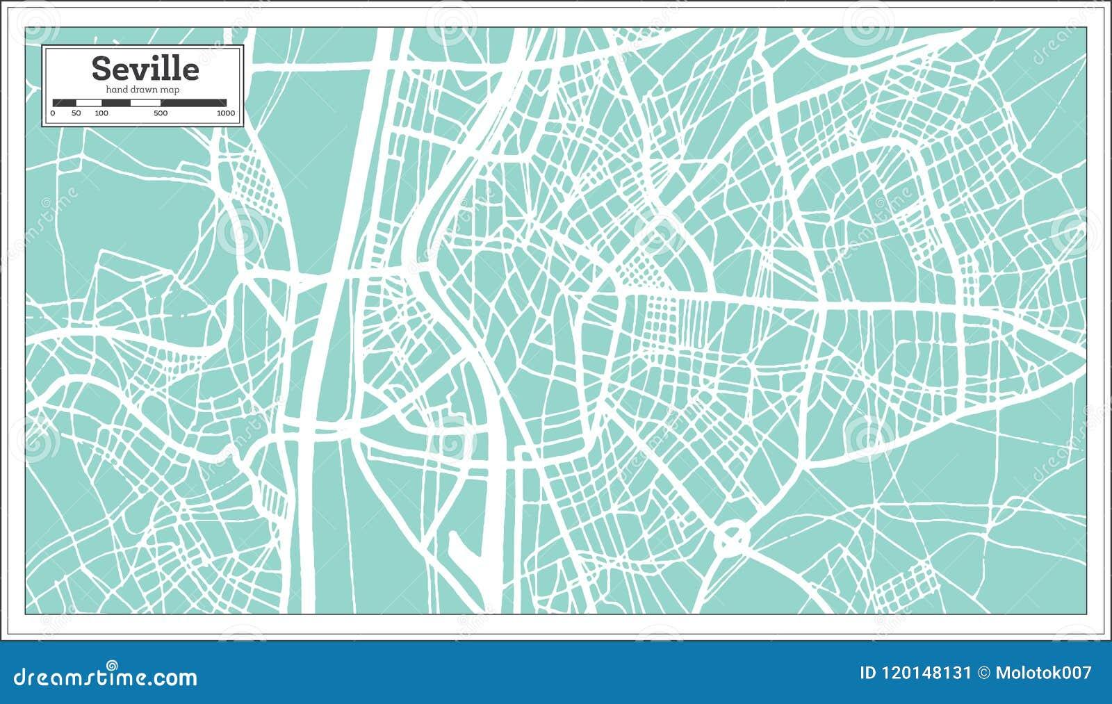 Mapa Da Cidade Da Espanha De Sevilha No Estilo Retro Ilustracao