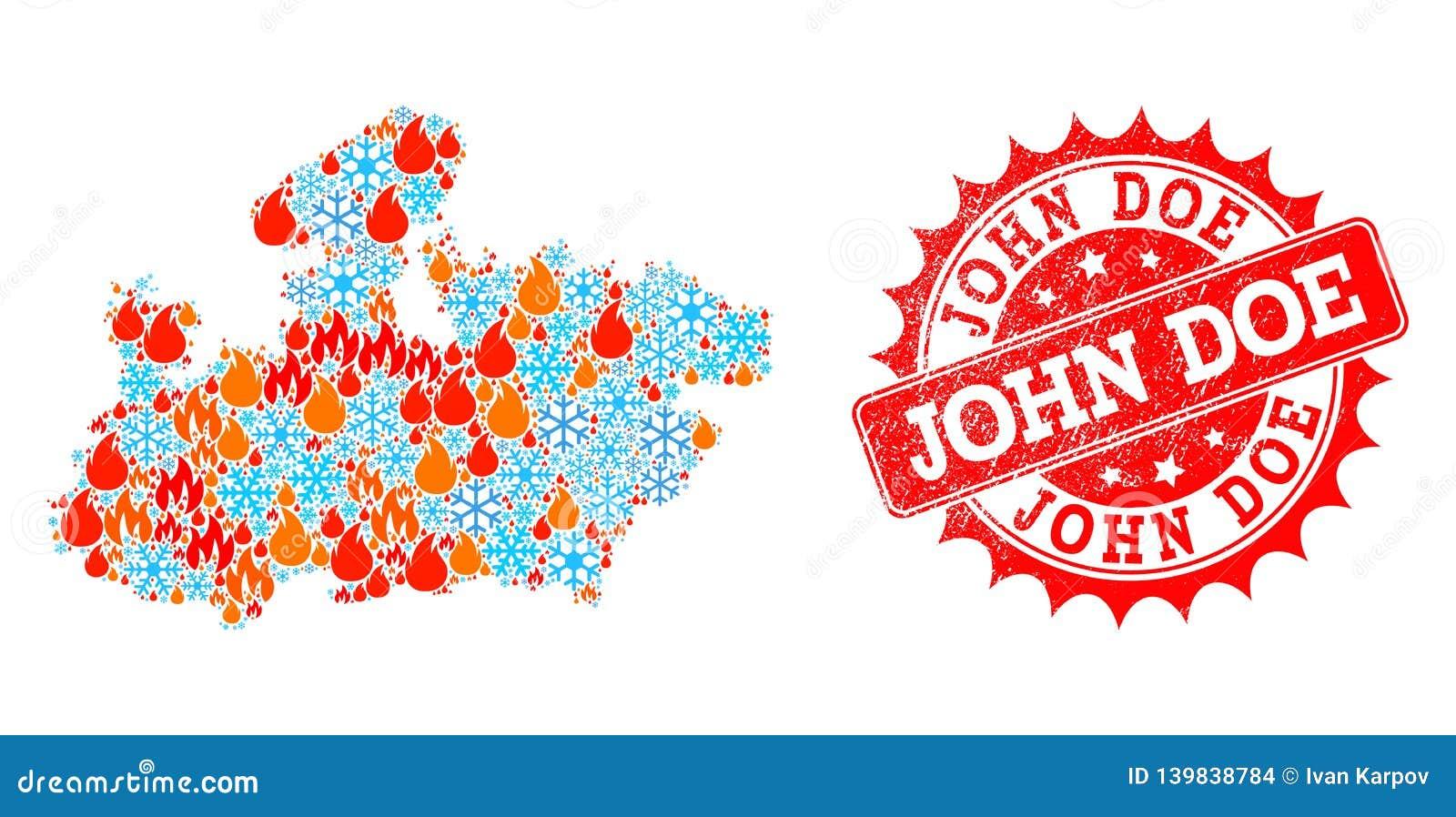 Mapa da colagem do estado de Madhya Pradesh de chama e neve e John Doe Distress Stamp