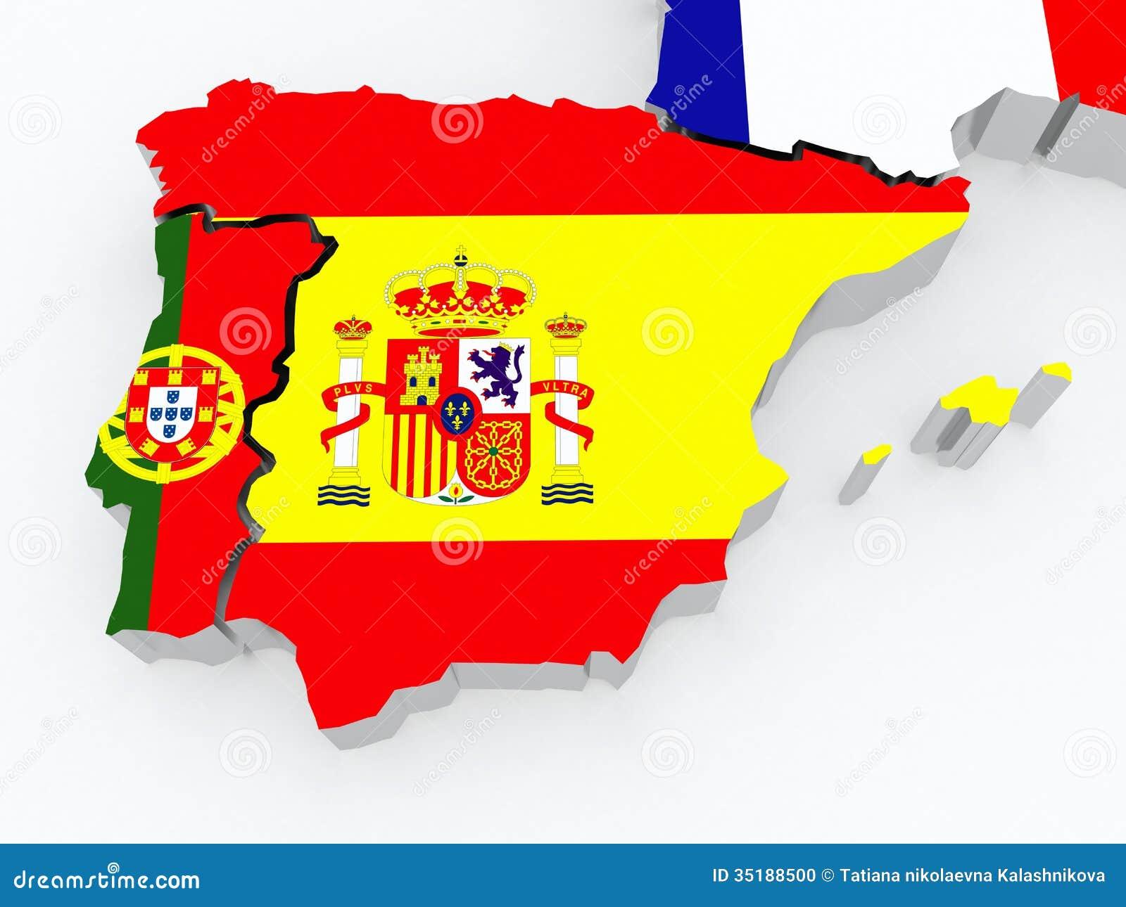 Mapa Da Espanha E Do Portugal. Ilustração Stock - Ilustração de ... 9c1b9eb8b03b2
