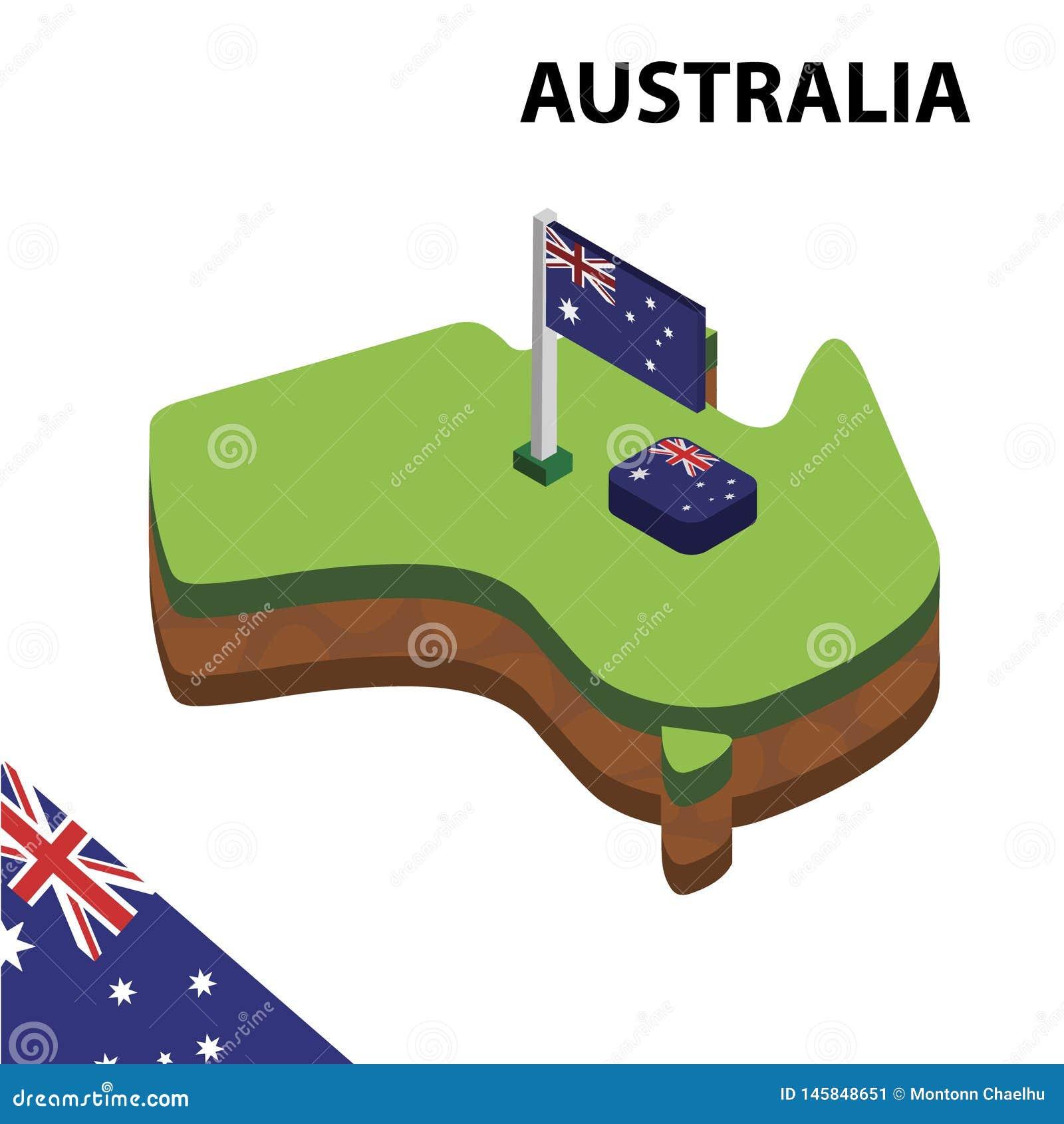 Mapa da informação e bandeira isométricos gráficos de Austrália ilustra??o isom?trica do vetor 3d