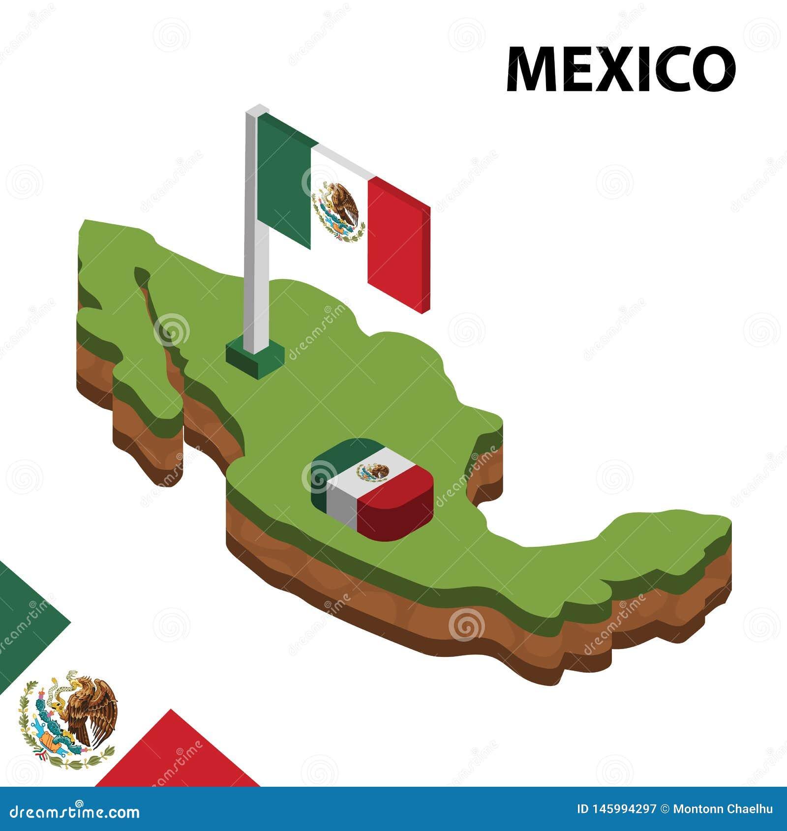 Mapa da informação e bandeira isométricos gráficos de MÉXICO ilustra??o isom?trica do vetor 3d