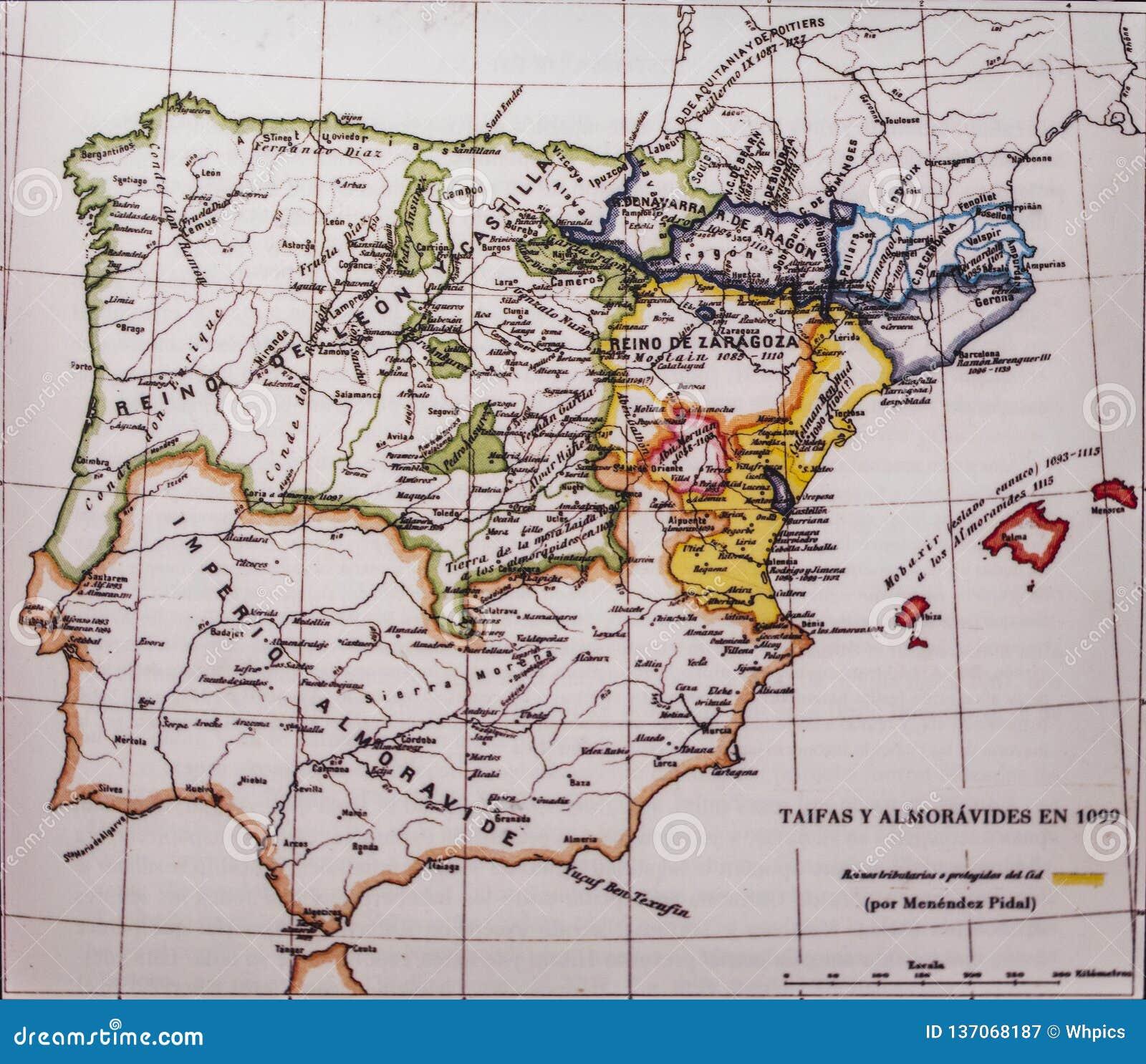 Mapa Da Peninsula Iberica 1099 Por Menendez Pidal Reinos E