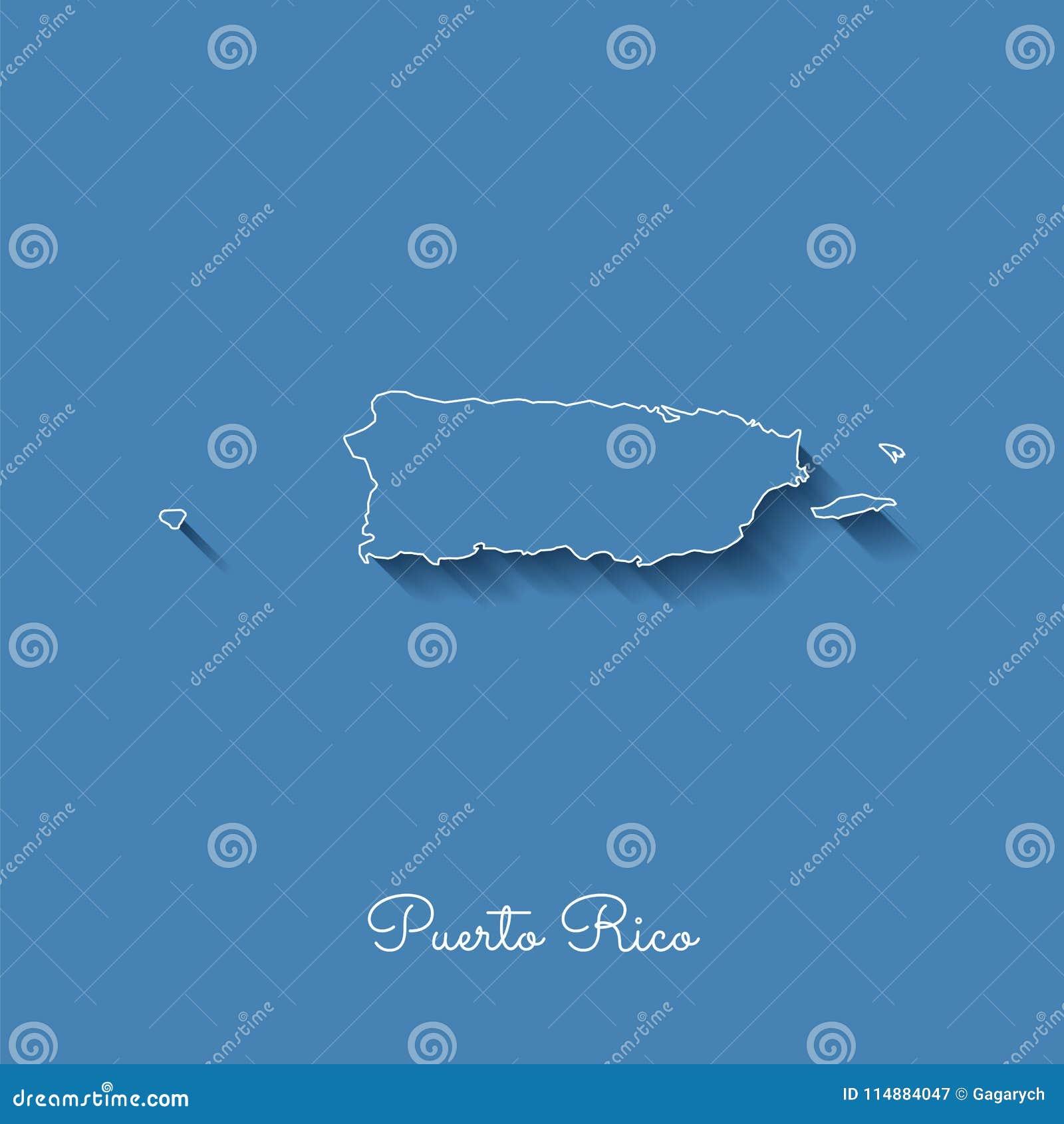 Mapa da região de Porto Rico: azul com esboço branco