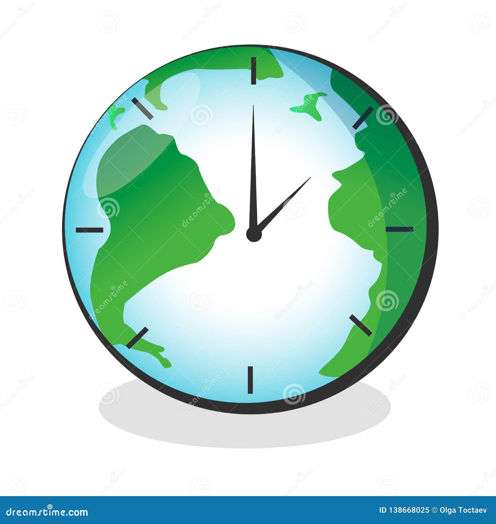 Mapa da terra do vetor com a face do relógio isolada no fundo branco