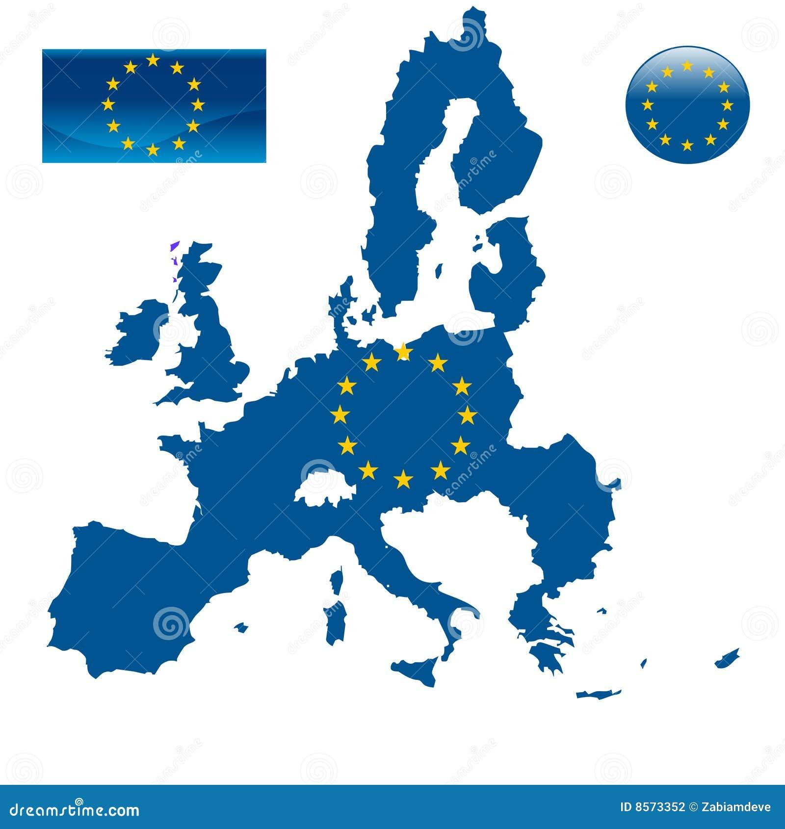 Mapa da União Europeia e da bandeira da UE