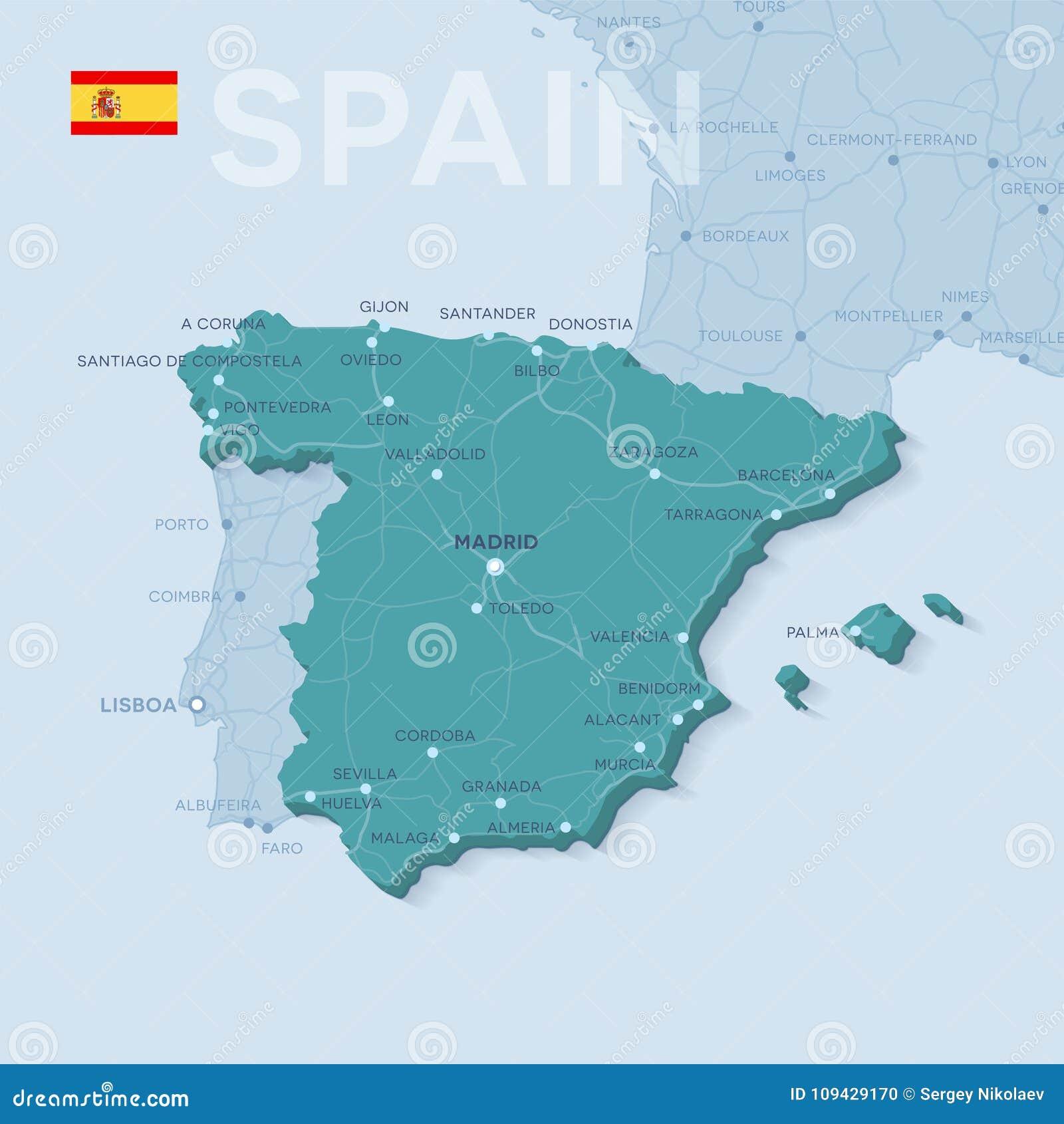 Mapa Das Cidades E Das Estradas Na Espanha Ilustracao Do Vetor