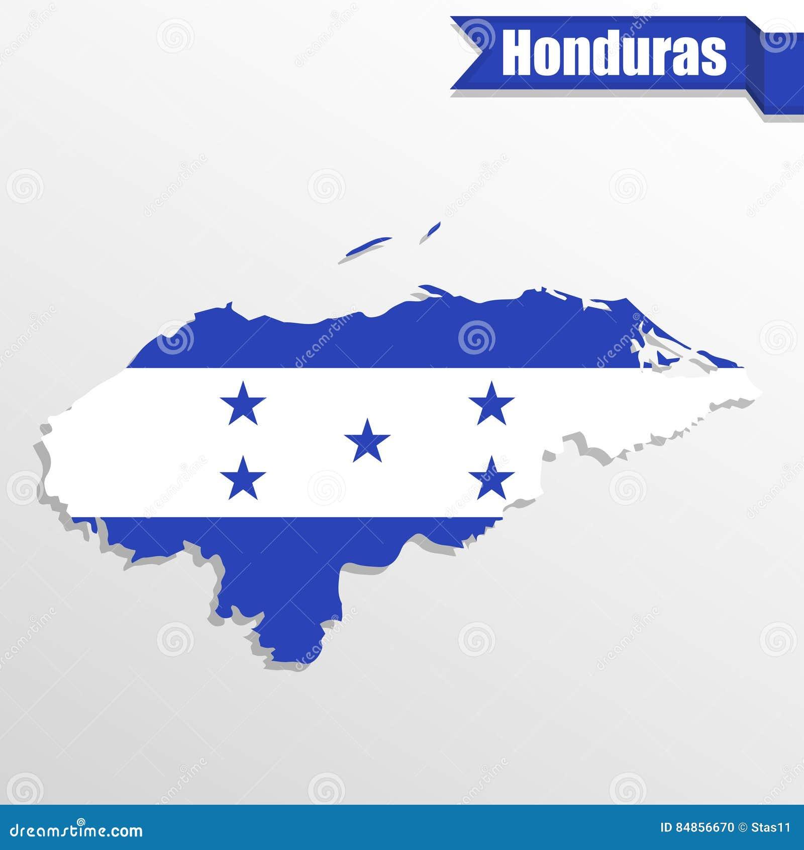 Mapa Das Honduras Com Interior E Fita Da Bandeira Ilustracao Stock
