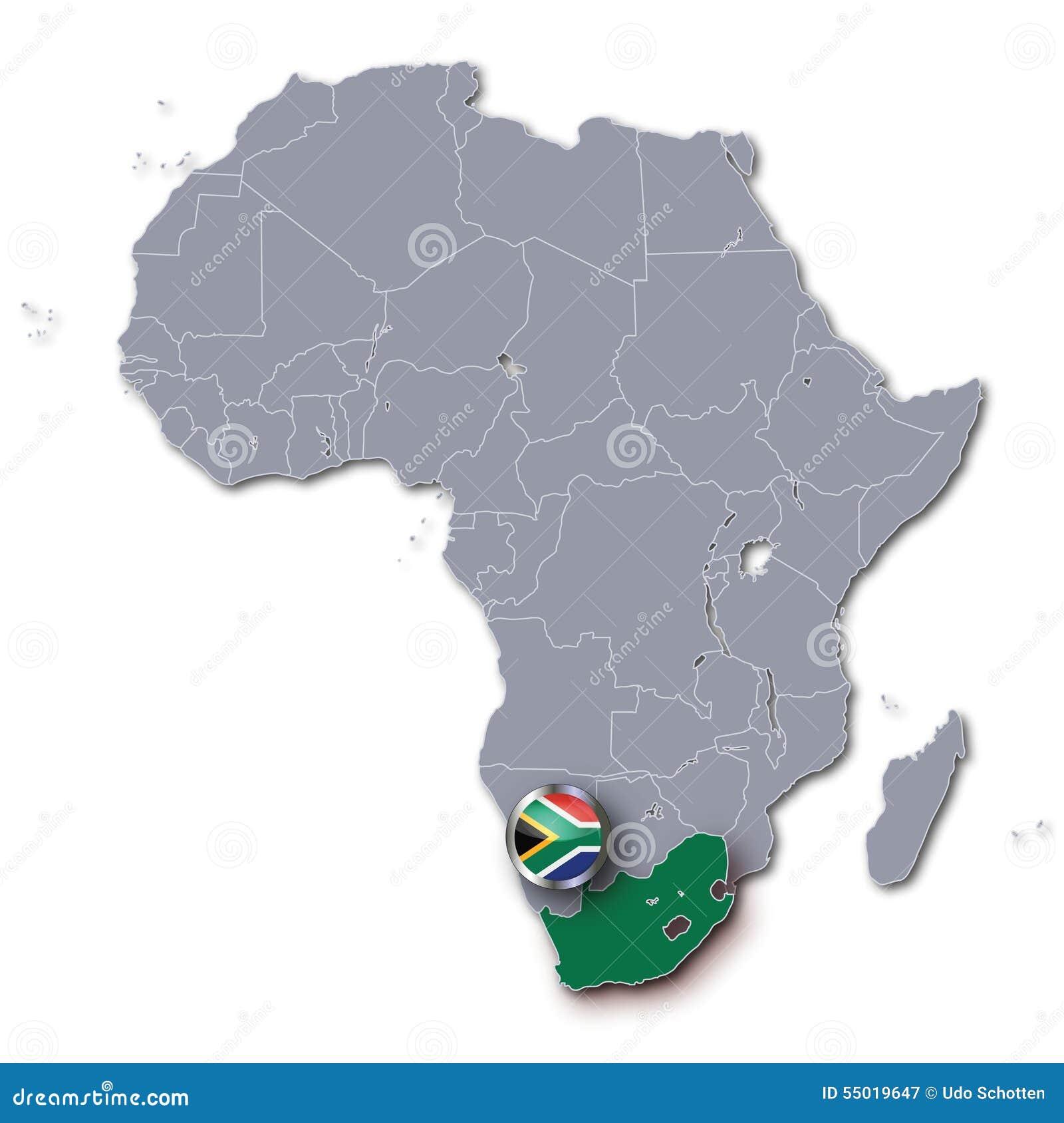 Mapa de África com África do Sul