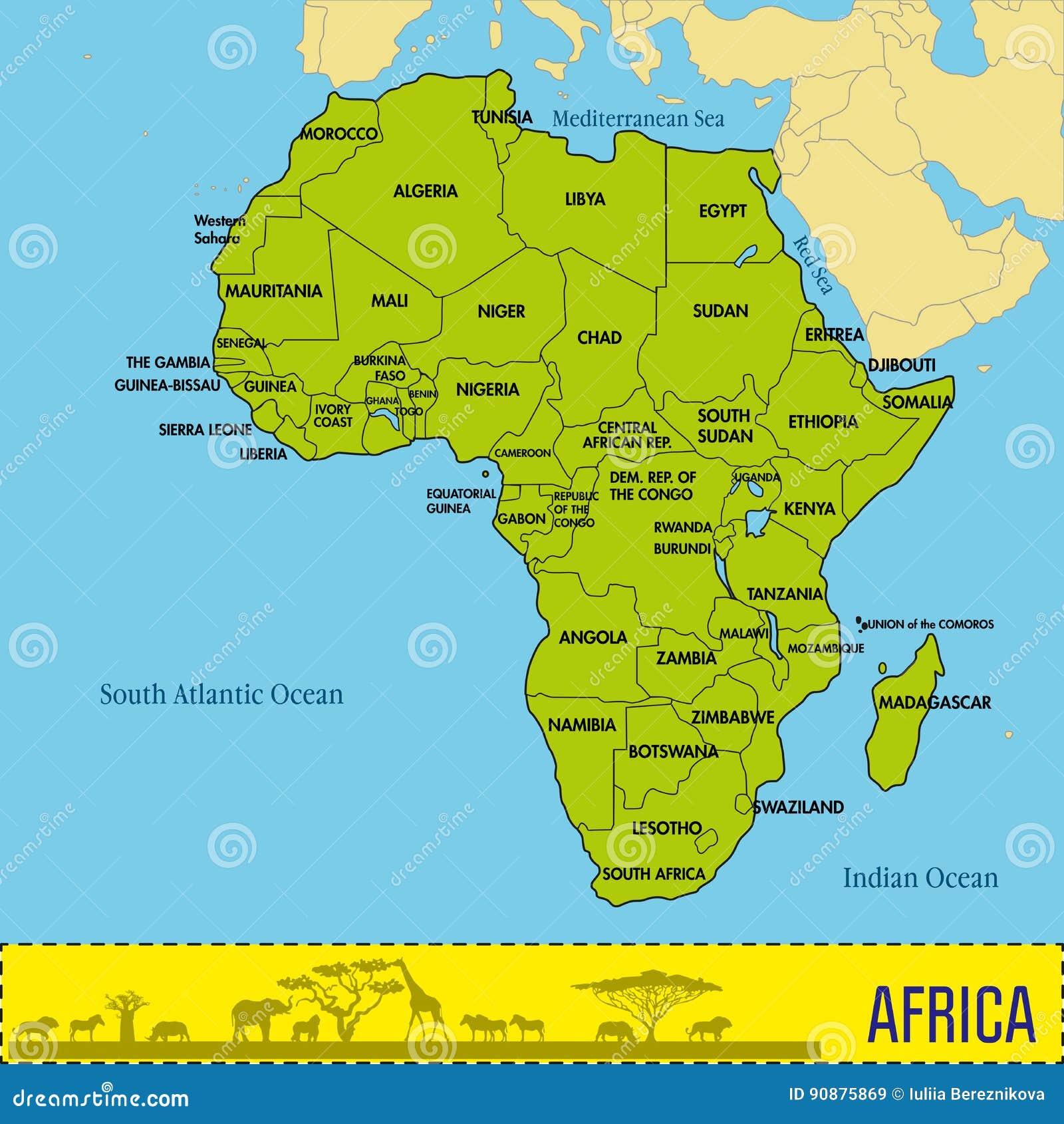 Mapa De Africa Con Todos Los Paises Y Sus Capitales Ilustracion