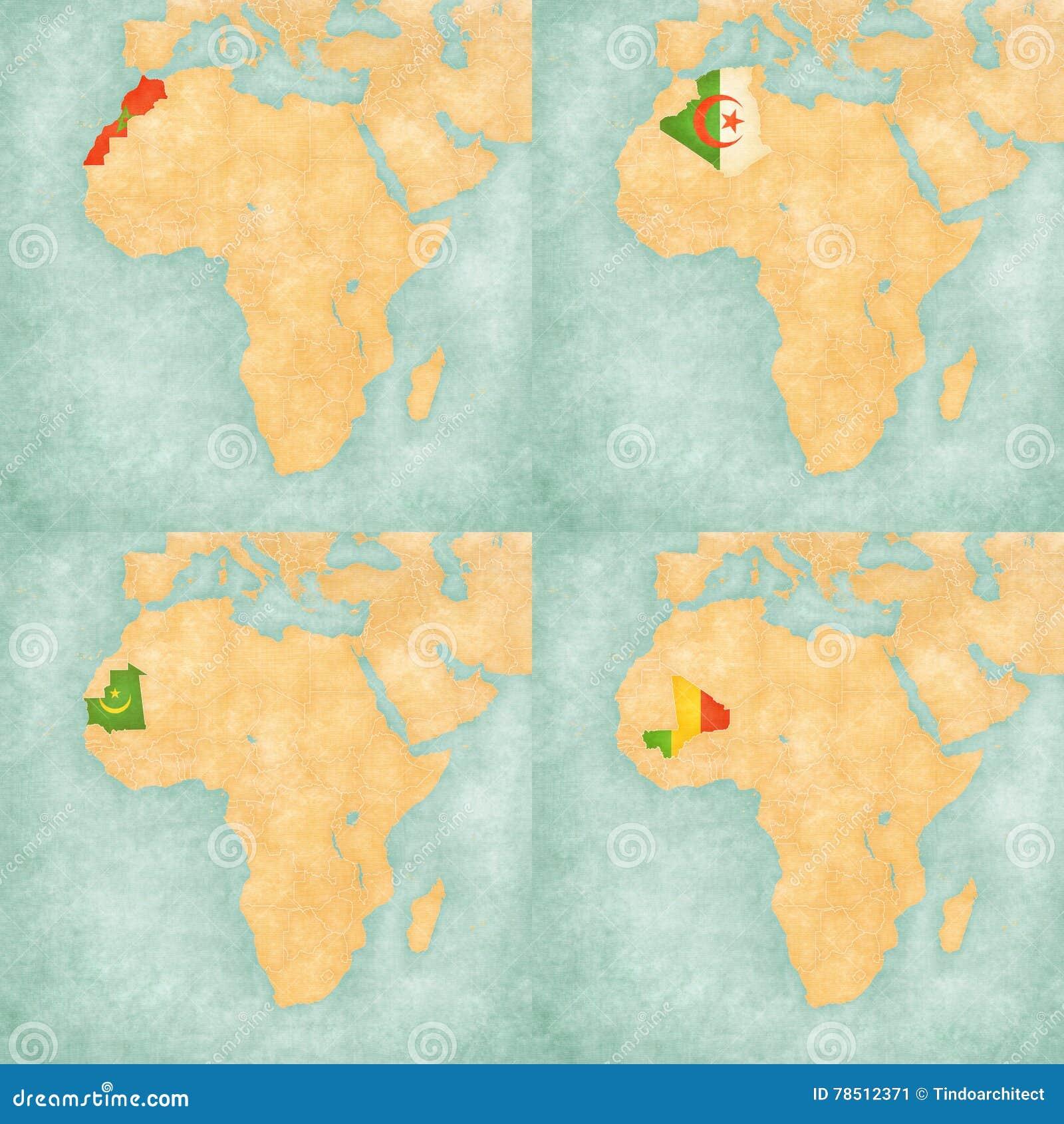 Mapa de África - de Marrocos, de Argélia, de Mauritânia e de Mali