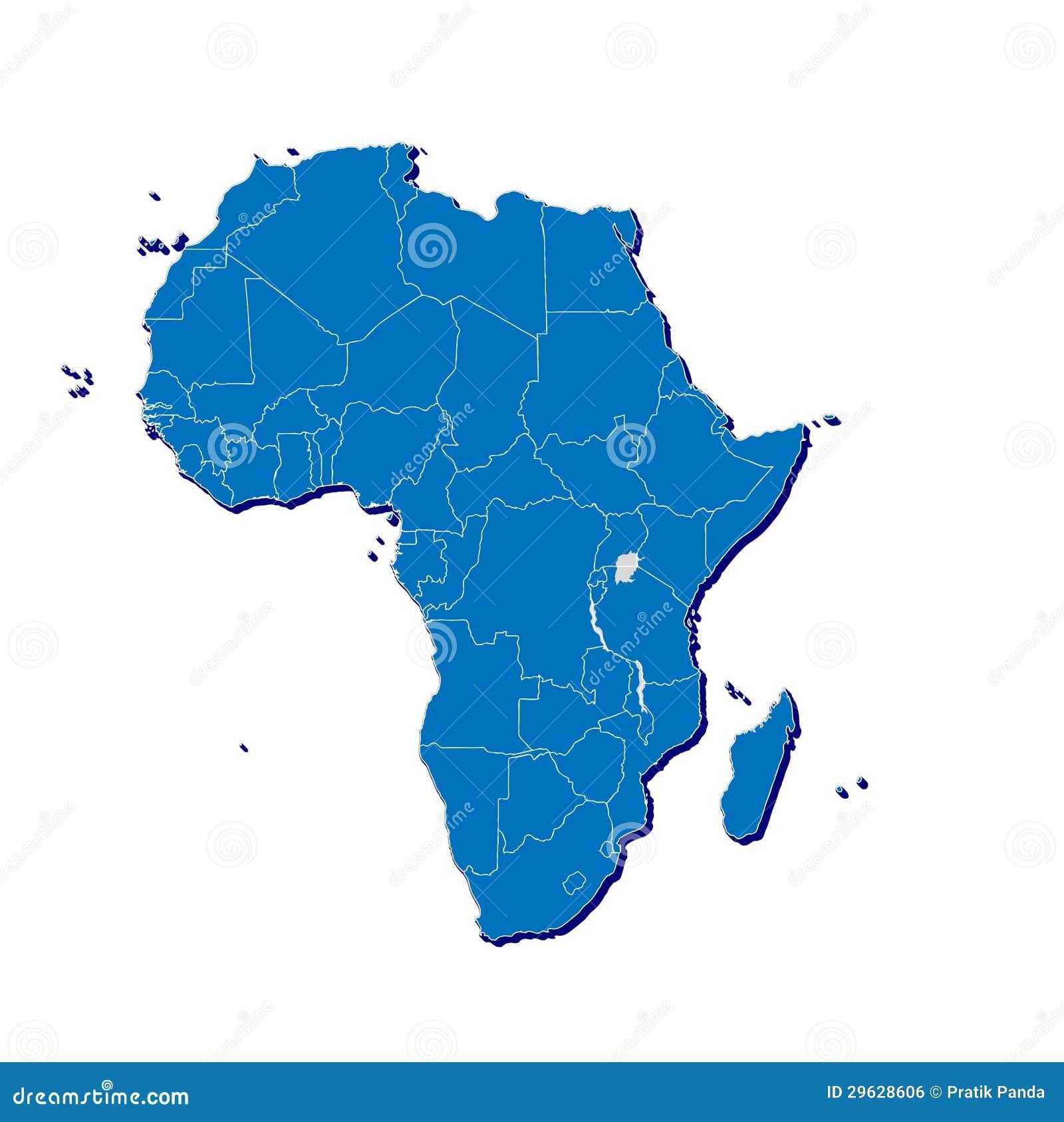 Mapa de África em 3D