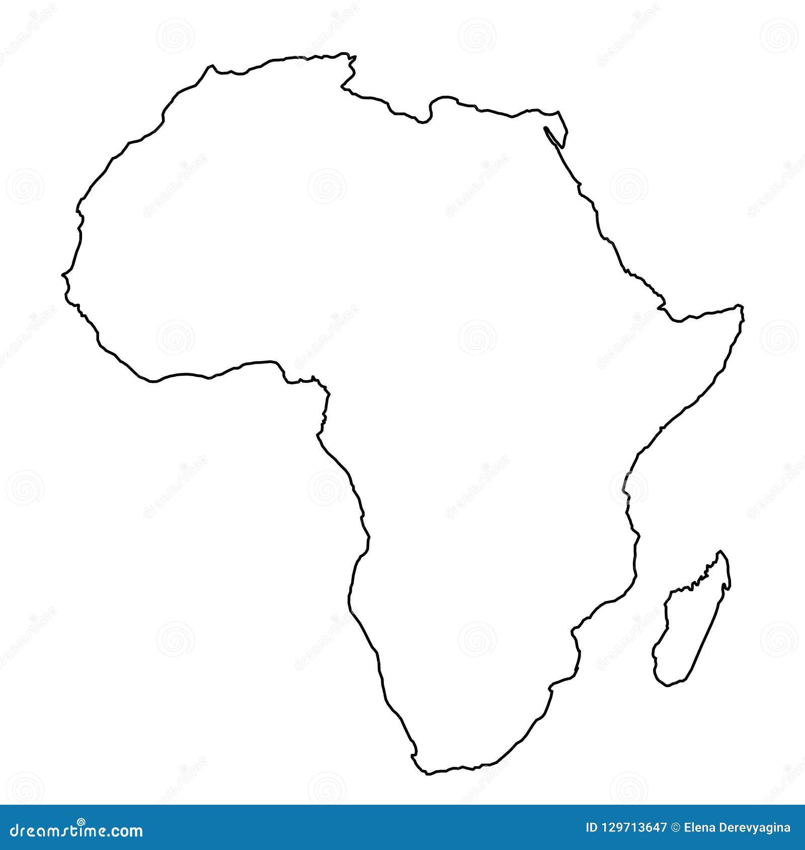Mapa De Africa Vacio.Mapa De Africa De Lineas Negras De Las Curvas Del Contorno
