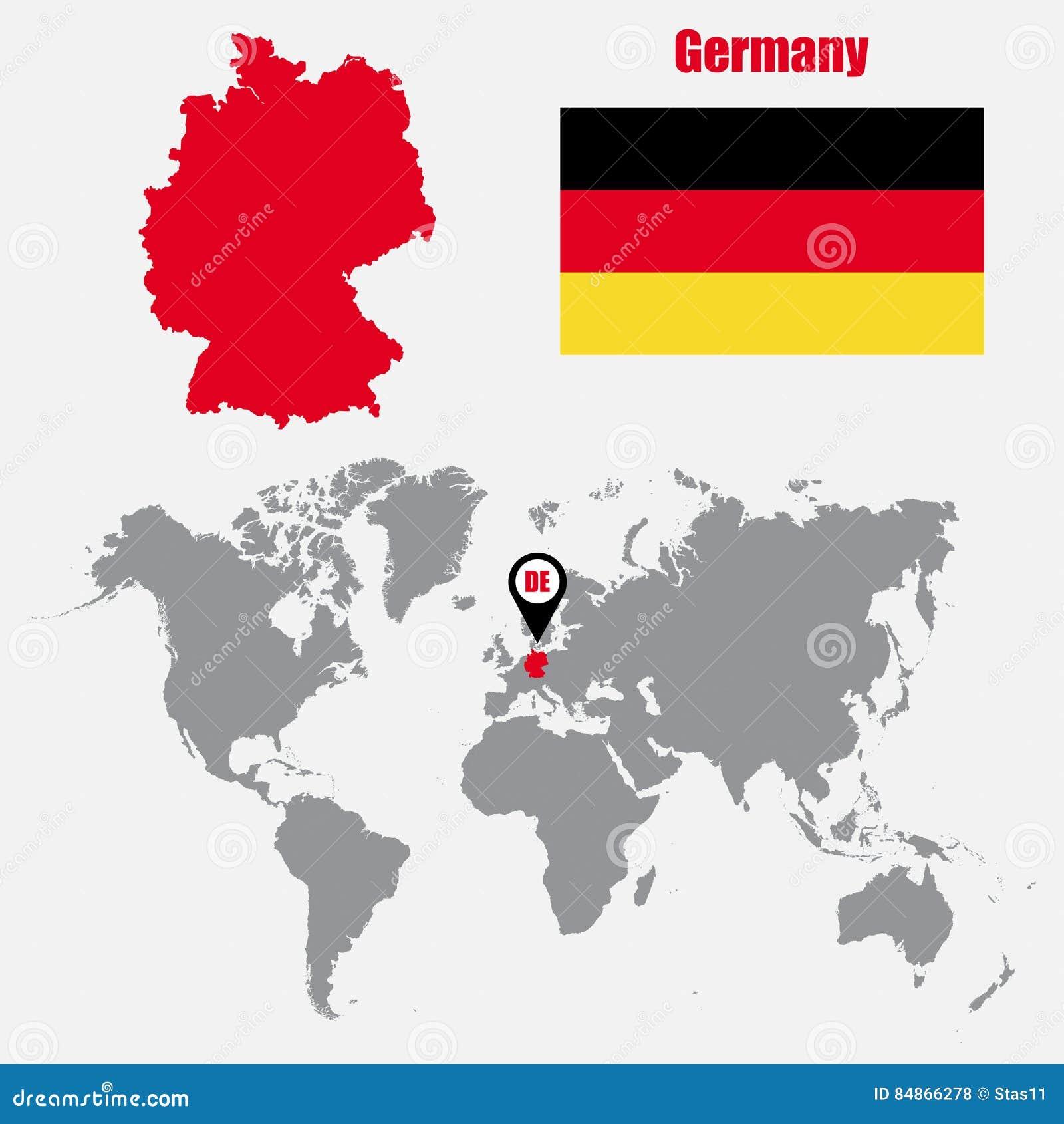 Mapa de Alemania en un mapa del mundo con el indicador de la bandera y del mapa Ilustración del vector
