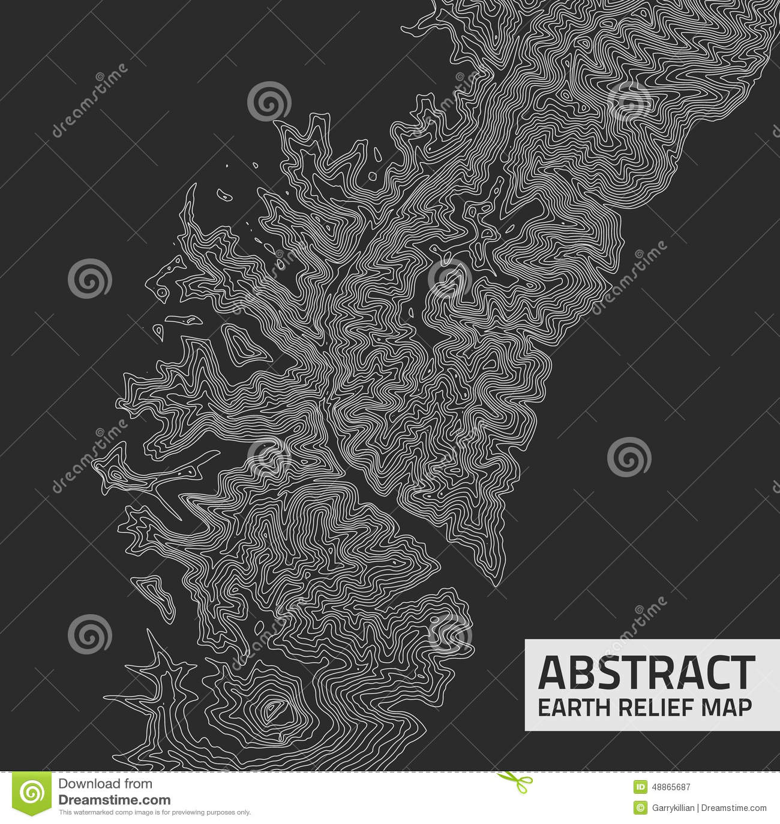 Mapa de alivio abstracto de la tierra del vector