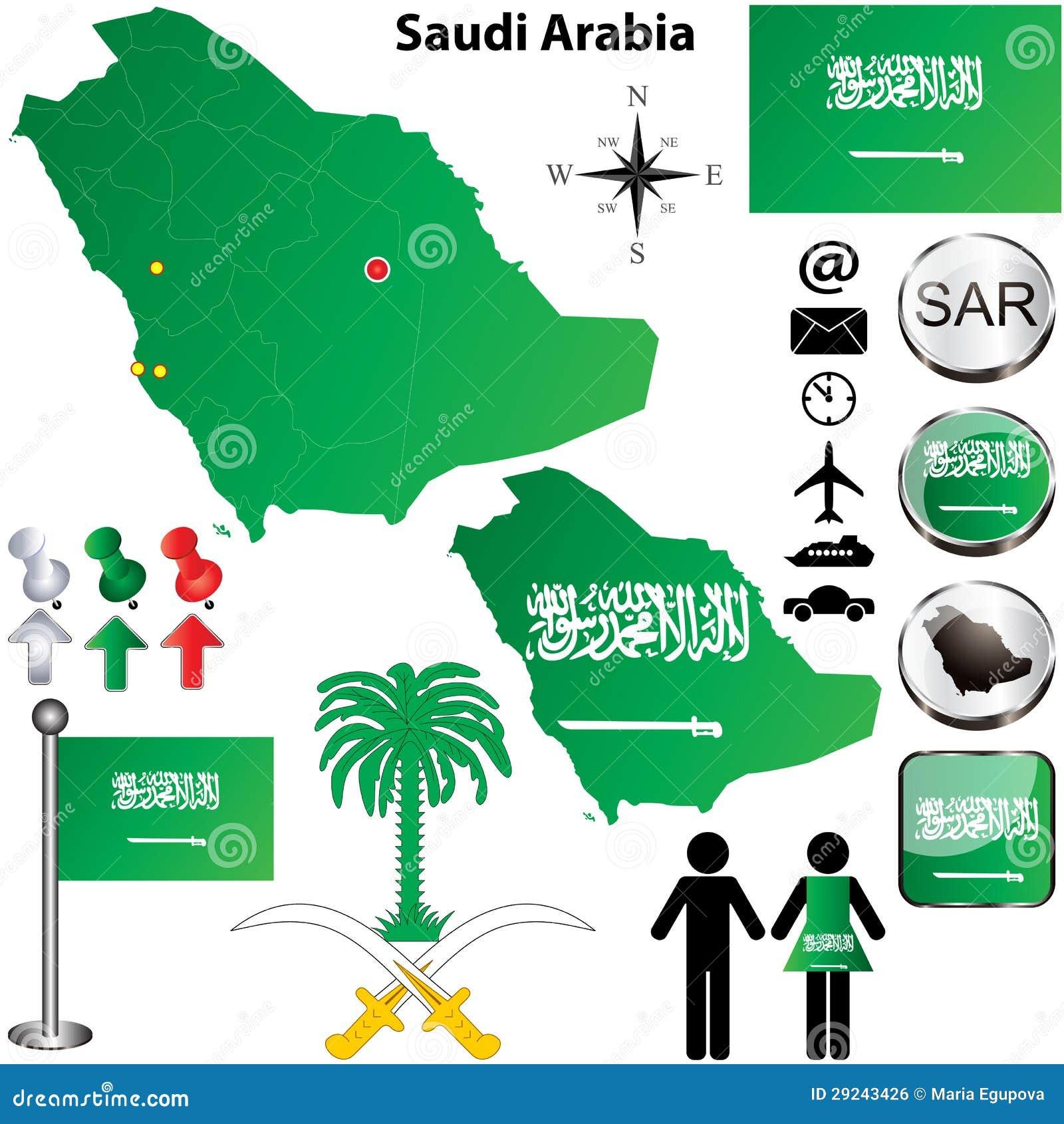 Download Mapa de Arábia Saudita ilustração do vetor. Ilustração de digital - 29243426
