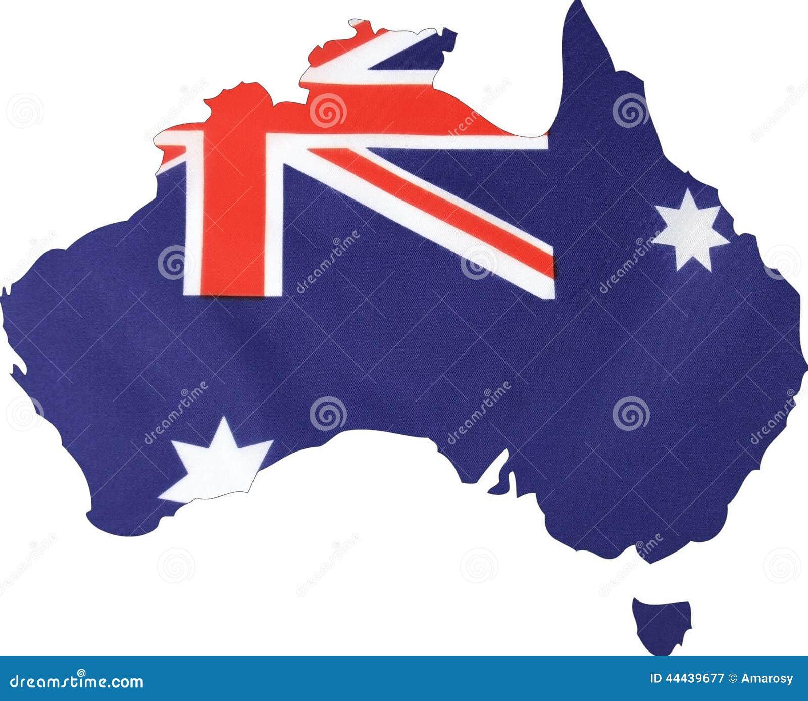 Mapa de Austrália com fundo da bandeira