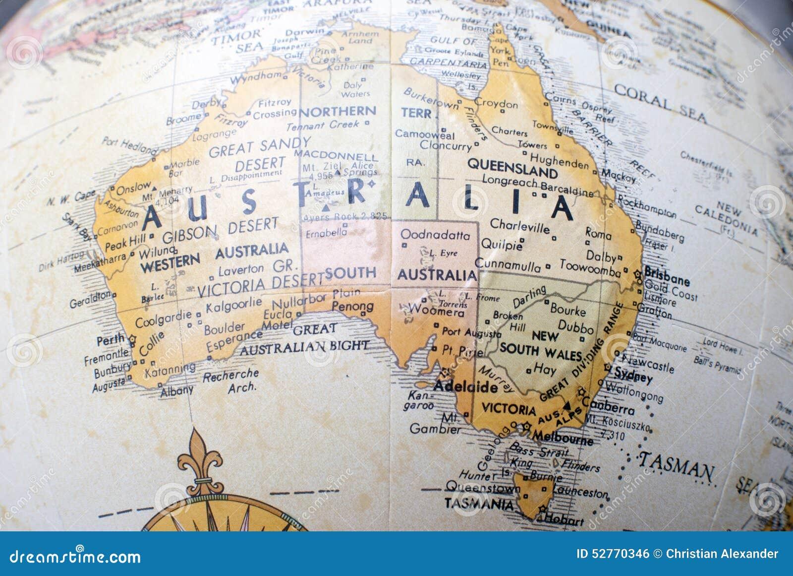 Mapa de Australia en un globo del mundo