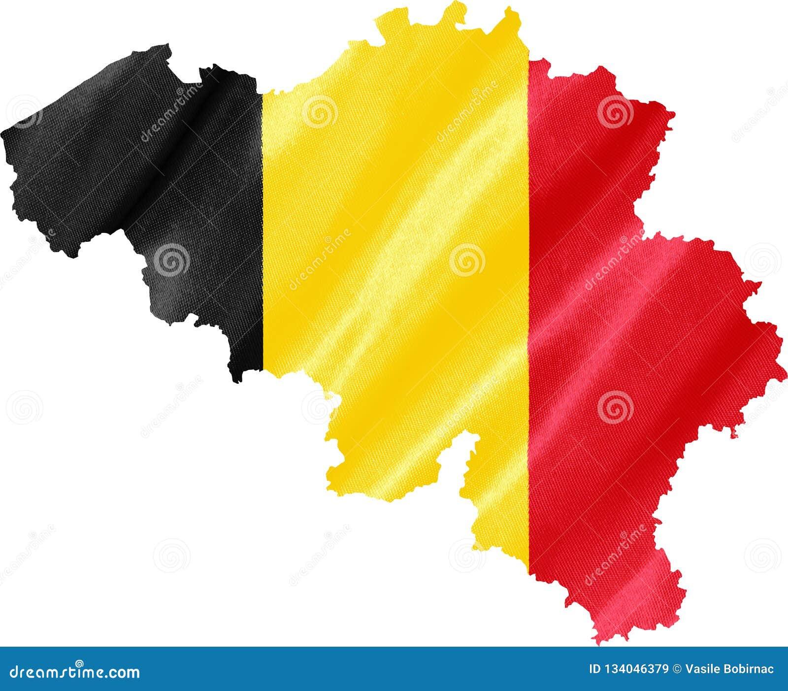 Mapa de Bélgica com bandeira