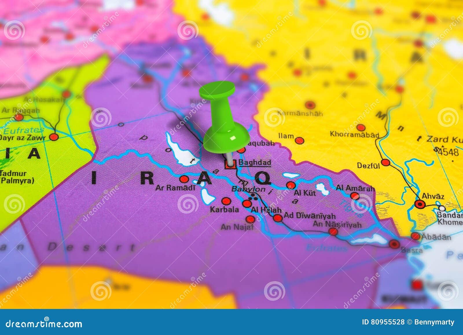 Mapa De Bagdad Iraq Foto de archivo Imagen 80955528 – Mapa De Iraq