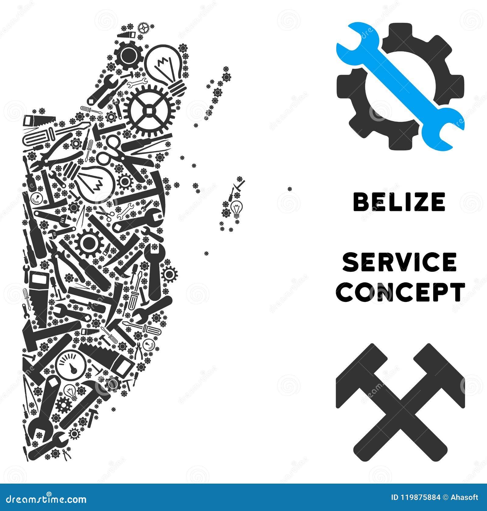 Mapa de Belice del mosaico de las herramientas de la reparación