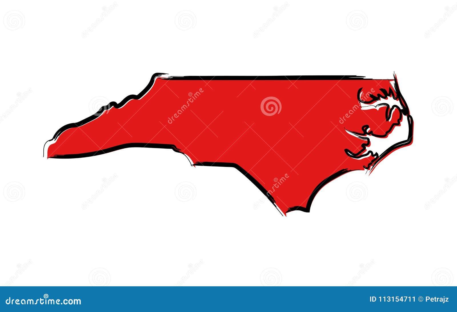 Mapa de bosquejo rojo de Carolina del Norte
