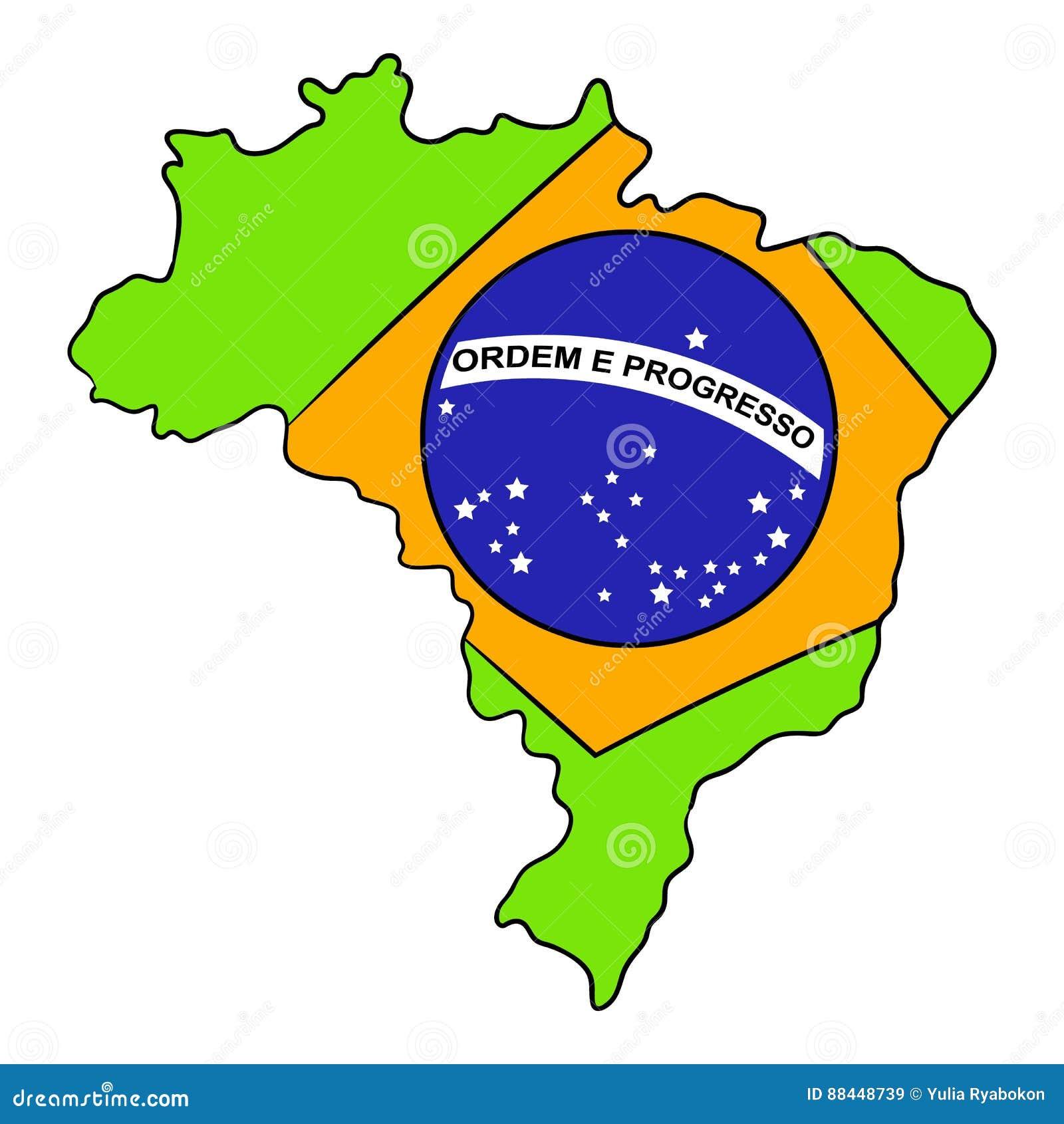 Mapa De Brasil E Desenhos Animados Do Icone Da Bandeira Ilustracao